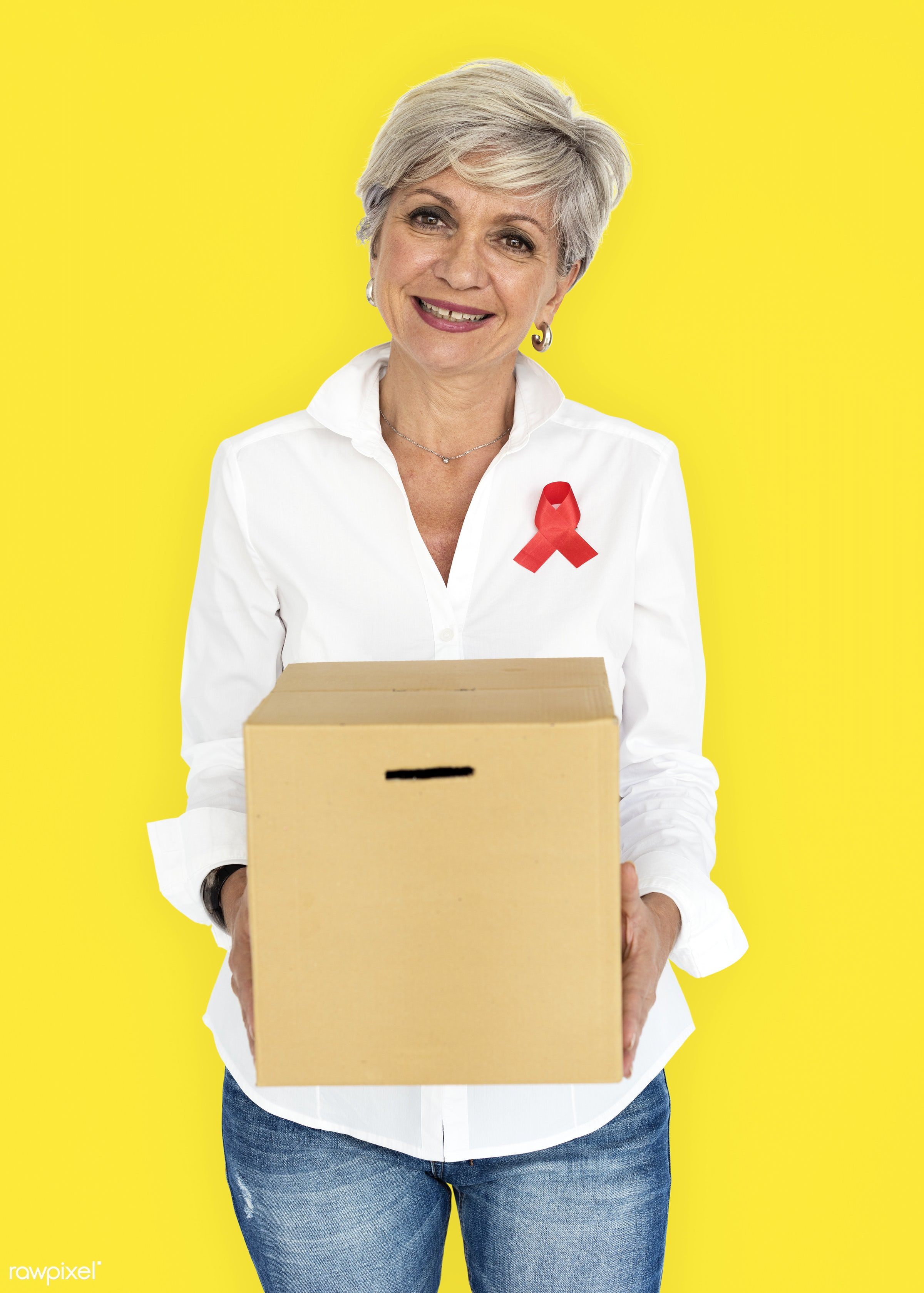 studio, expression, person, holding, red ribbon, yellow, charity, people, hiv, solo, woman, ribbon, cheerful, smiling,...
