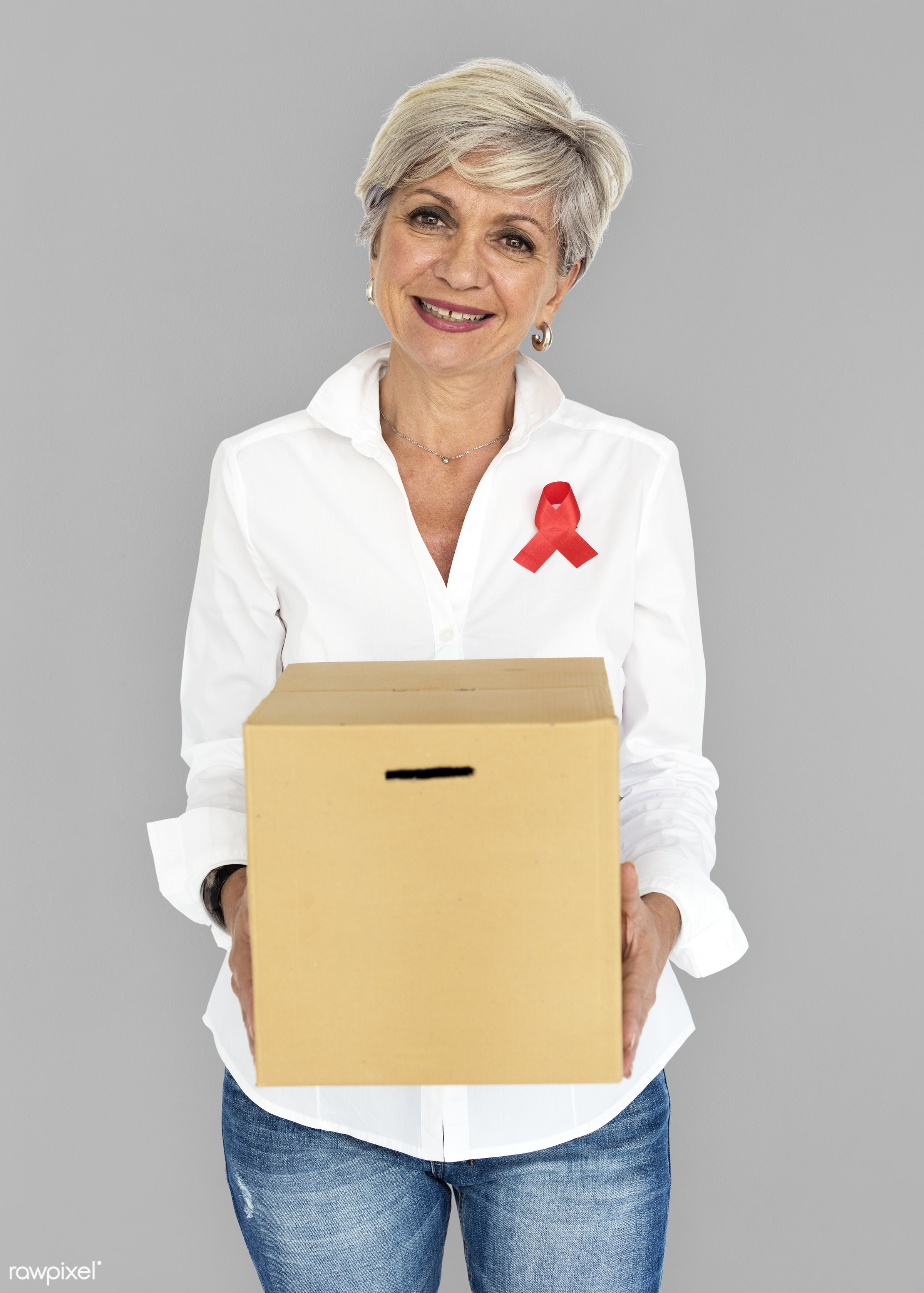 studio, expression, person, holding, red ribbon, charity, people, hiv, solo, woman, ribbon, cheerful, smiling, isolated,...