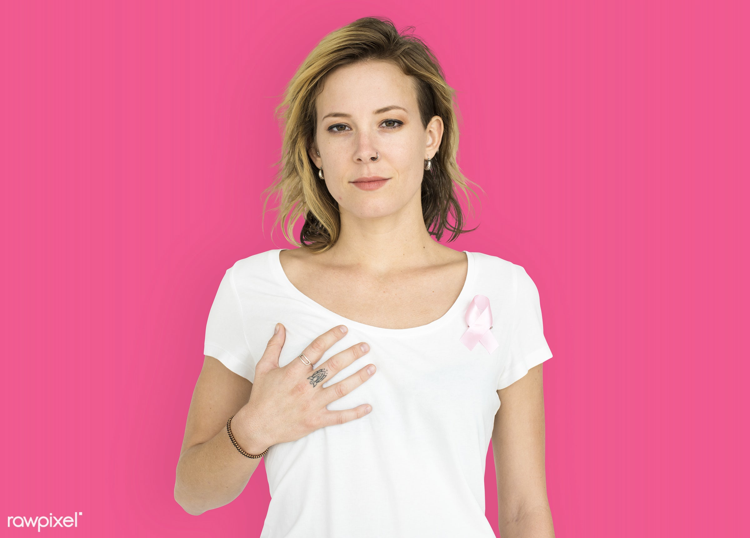 studio, expression, person, awareness, people, solo, woman, pink, smile, cheerful, smiling, isolated, pink ribbon, happiness...