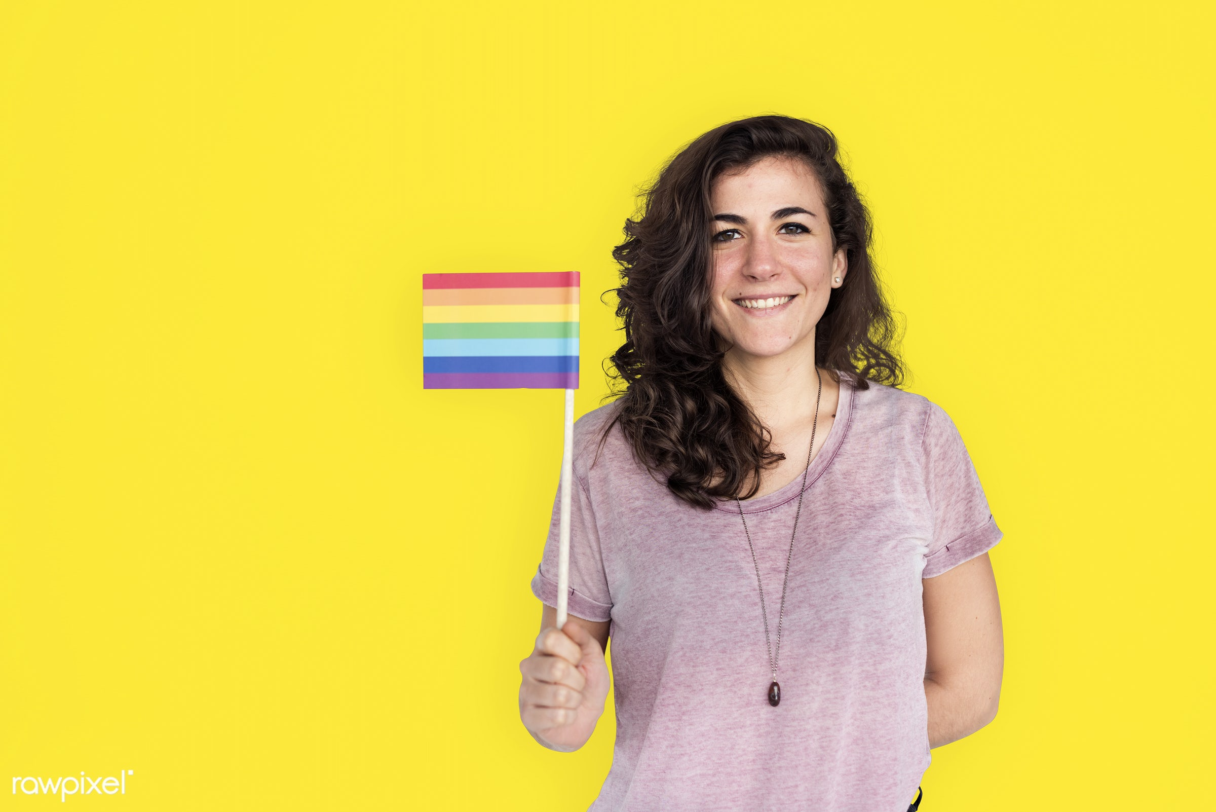 studio, expression, person, holding, yellow, people, lesbian, bisexual, solo, woman, smile, cheerful, smiling, isolated,...