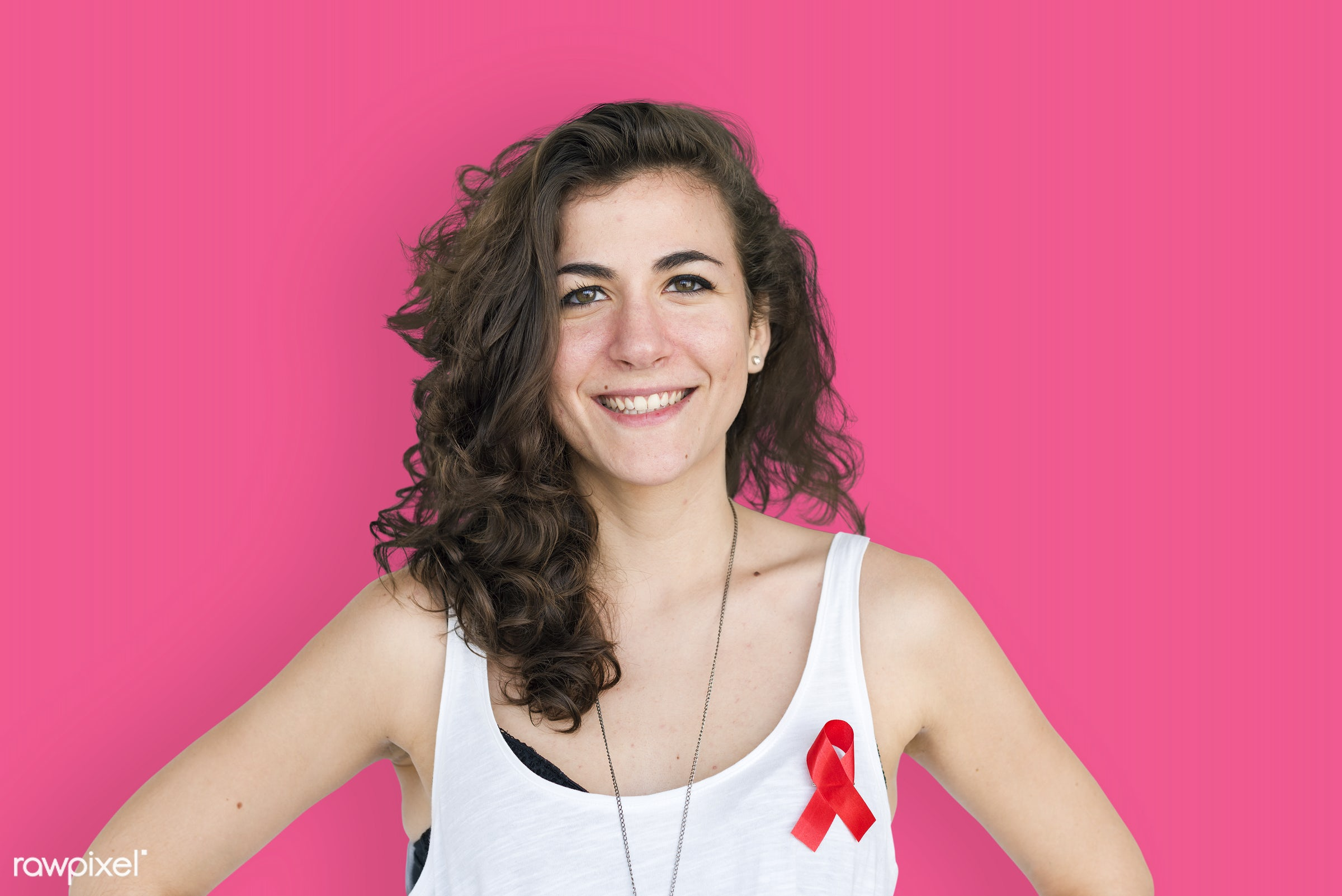 studio, expression, person, red ribbon, charity, people, hiv, solo, woman, ribbon, pink, smile, cheerful, smiling, isolated...