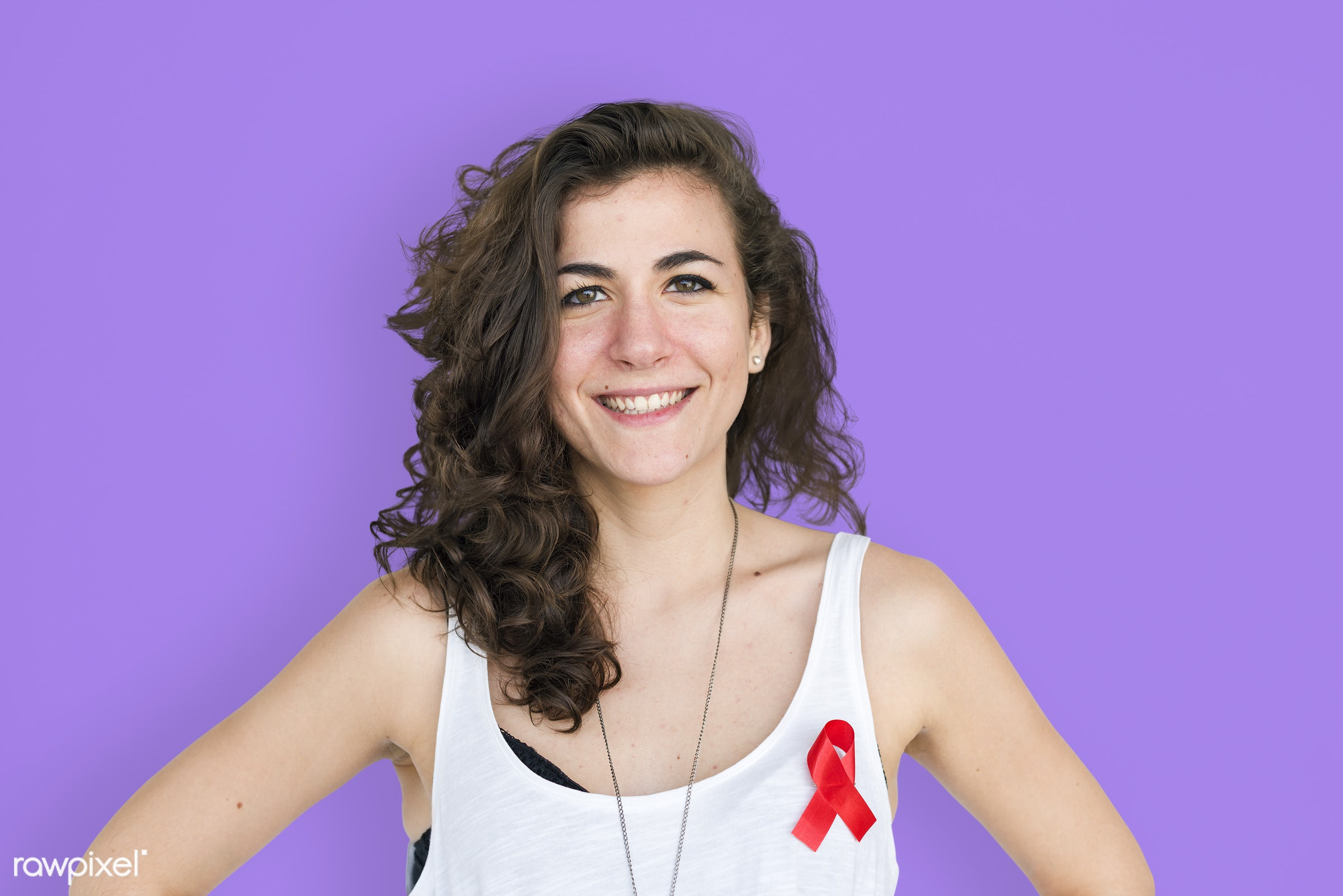 studio, expression, person, red ribbon, charity, people, hiv, solo, woman, ribbon, smile, cheerful, smiling, isolated, drugs...
