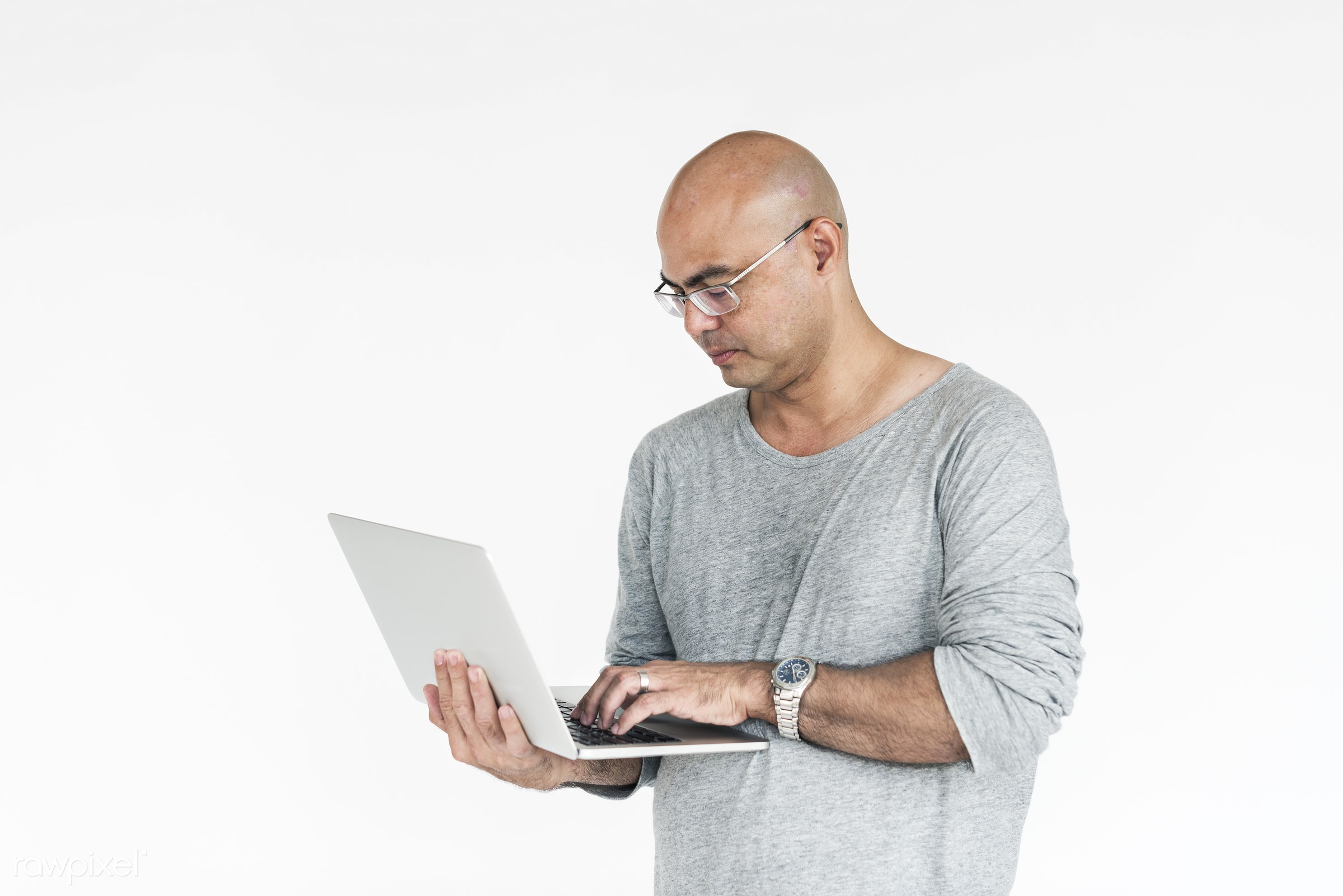 studio, expression, person, technology, isolated on white, people, online, caucasian, laptop, working, man, networking,...