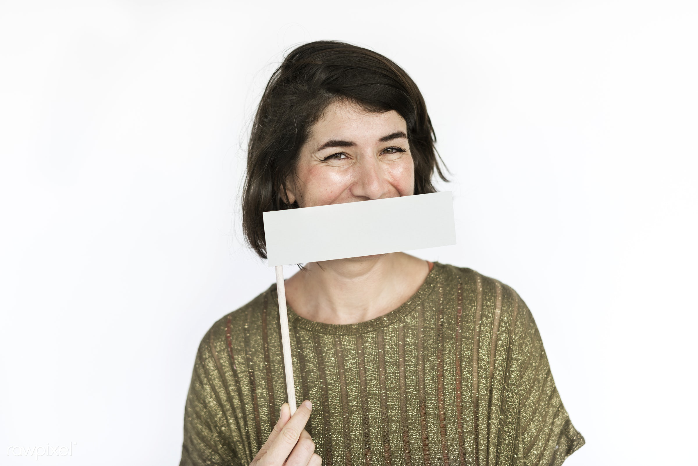 studio, expression, person, copy space, joy, isolated on white, carefree, people, caucasian, placard, laughing, fresh, woman...