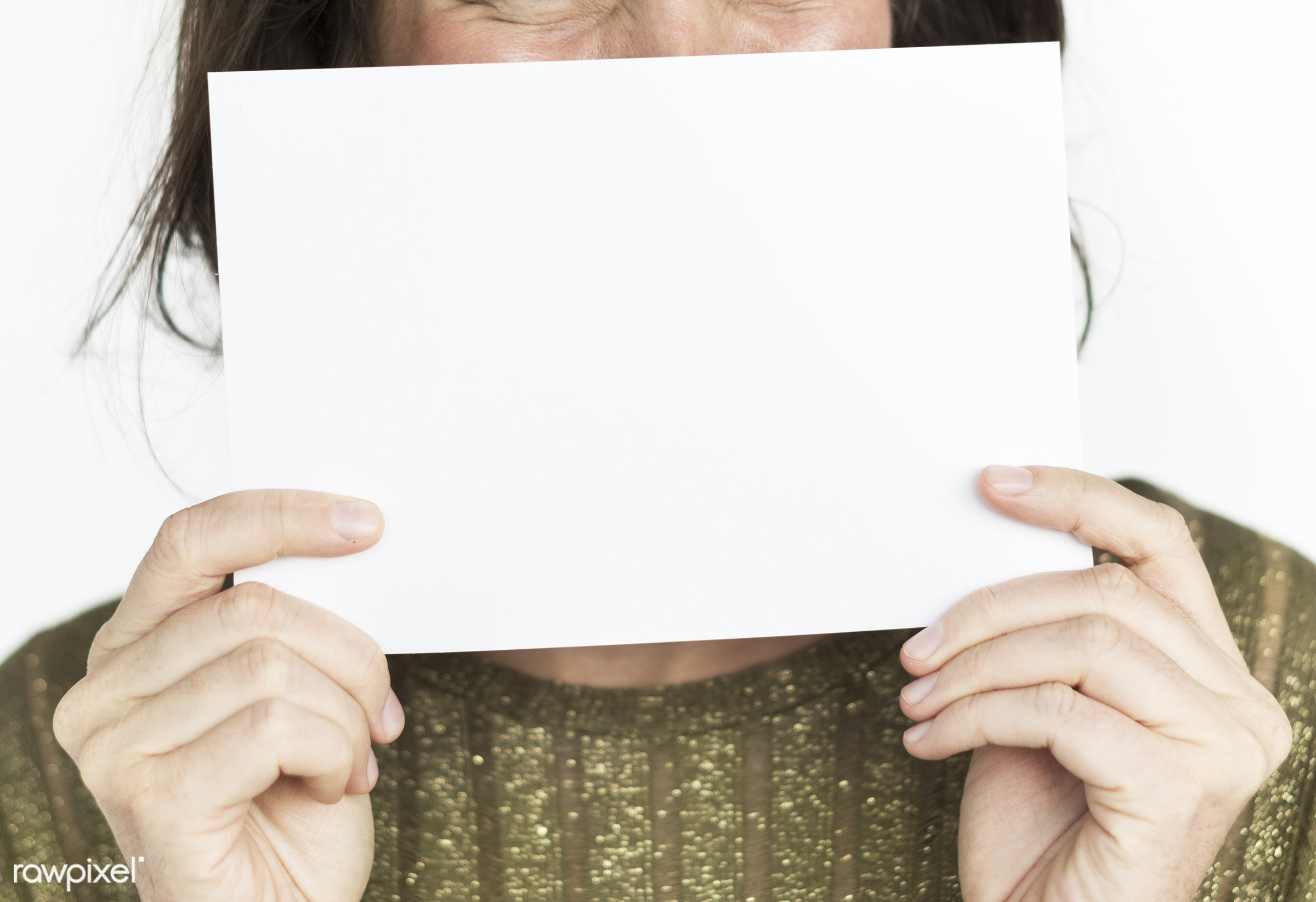 studio, expression, person, holding, cover mouth, rights, people, placard, cover, woman, smile, cheerful, smiling, isolated...
