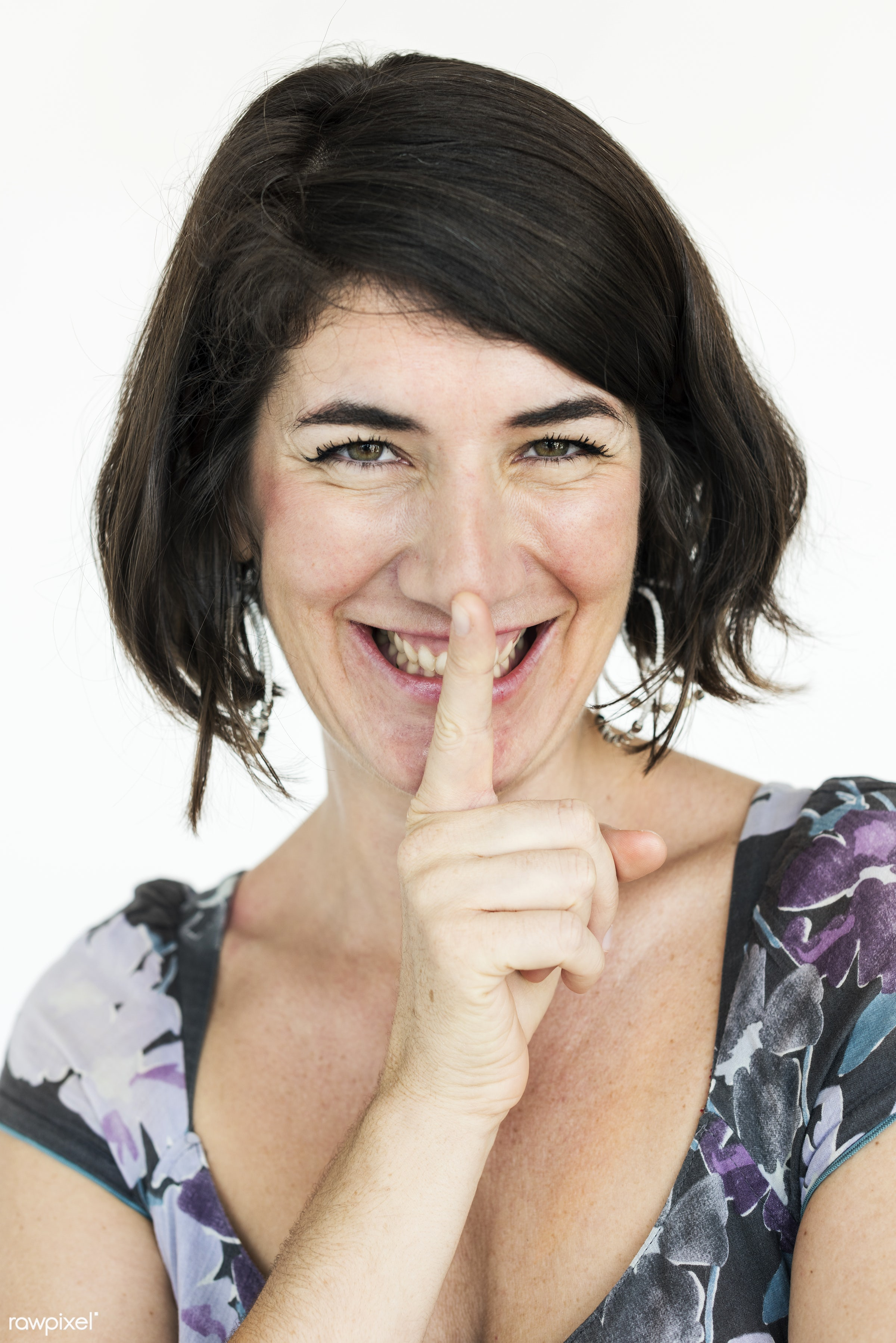 studio, expression, person, people, finger on lips, woman, shh, smile, cheerful, smiling, isolated, white, happiness, quiet...