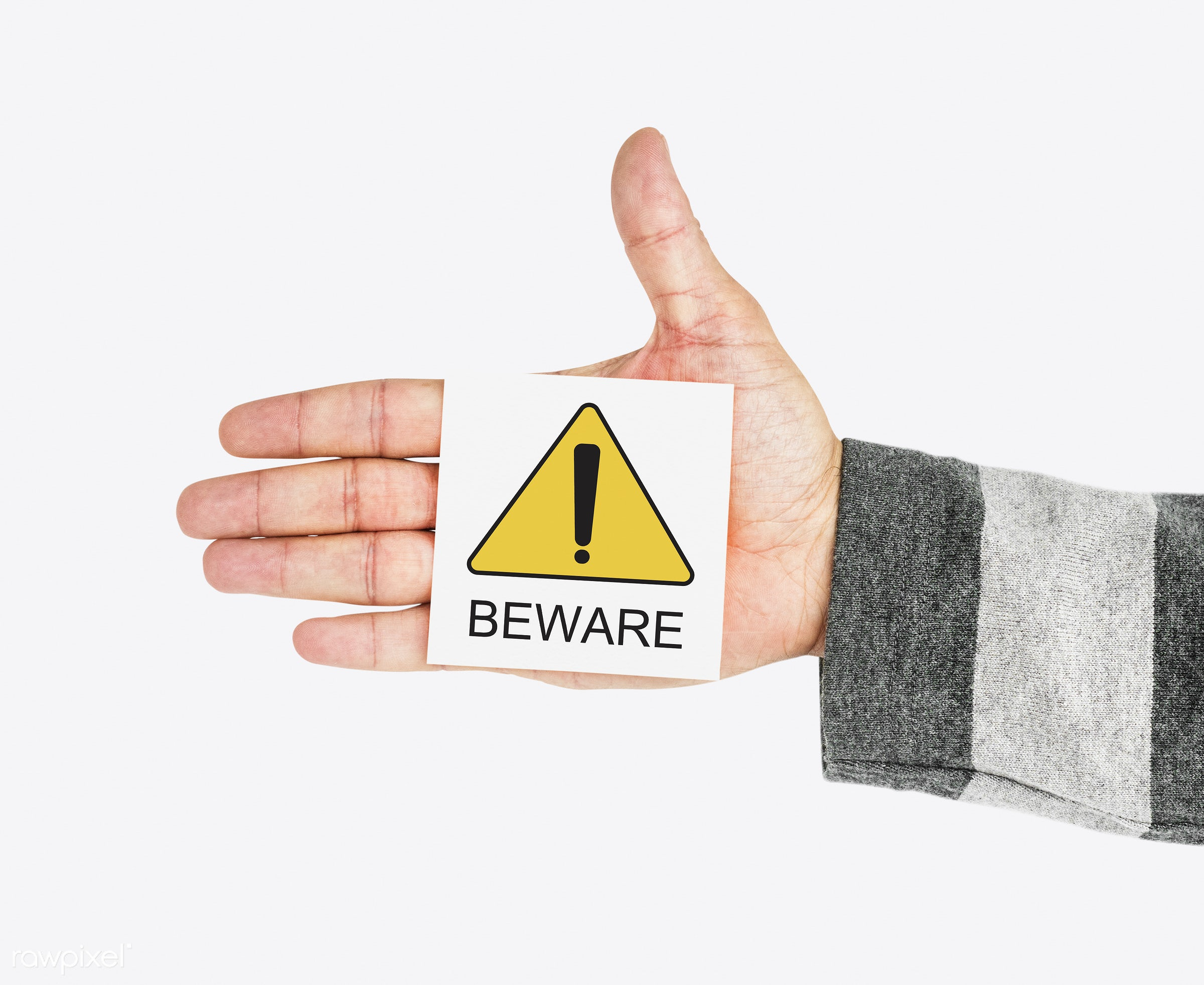 Beware note in hand - studio, expression, holding, show, placard, danger, solo, priority, isolated, information, alert, hold...