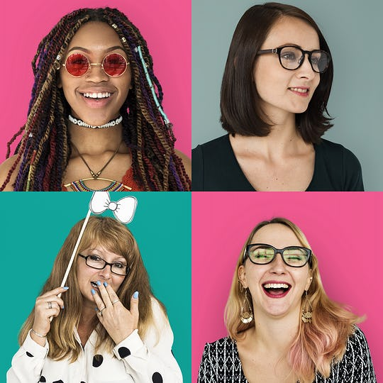Set of portraits of women with glasses