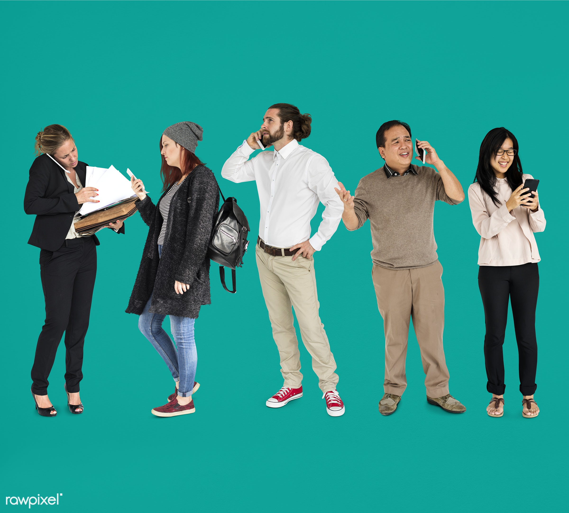 using, full length, diverse, people, race, asian, caucasian, social, woman, lifestyle, studio squareset, smart phone,...