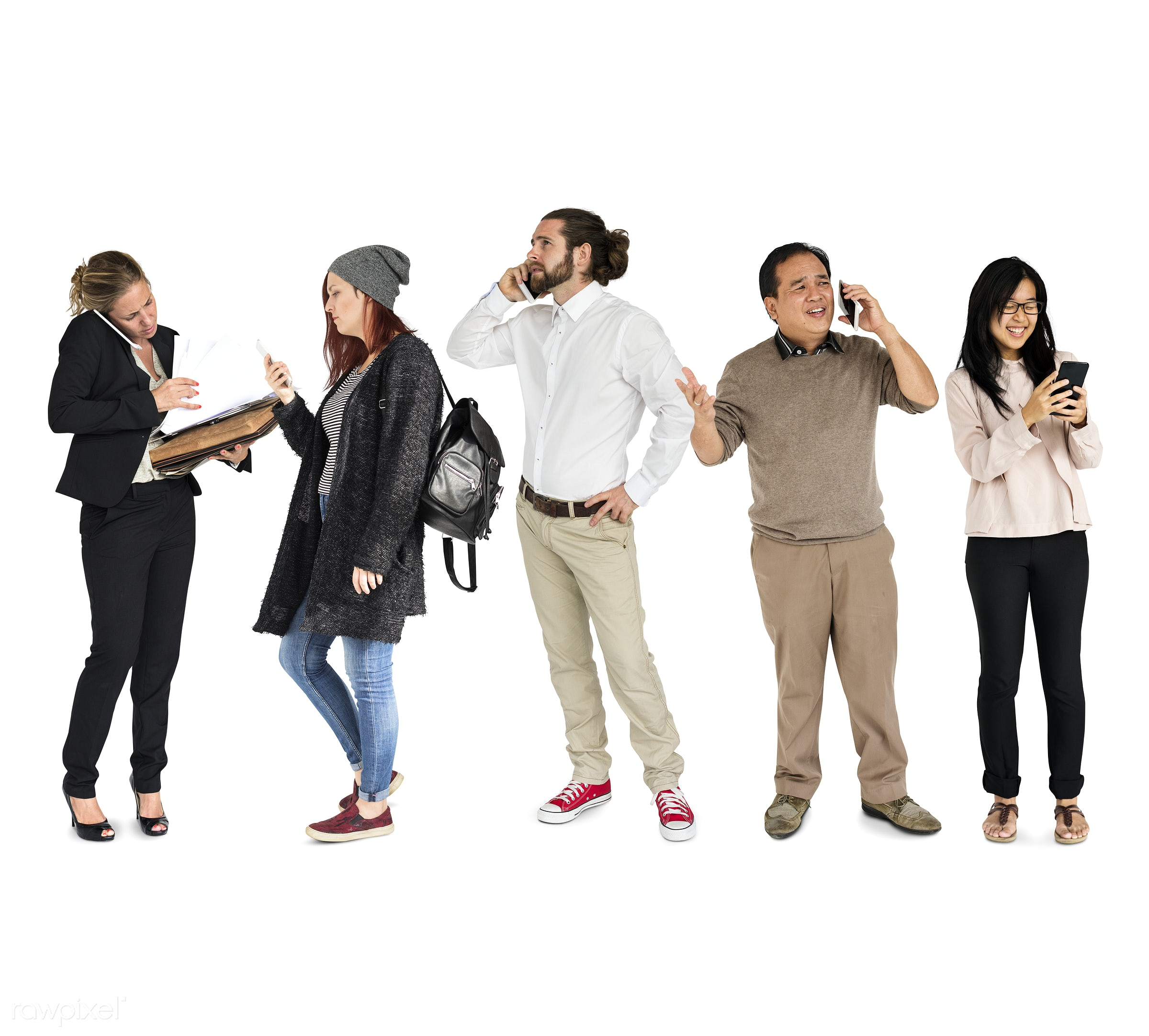 Diverse people set - studio, expression, call, phone, person, technology, diverse, set, digital life, use, collection,...