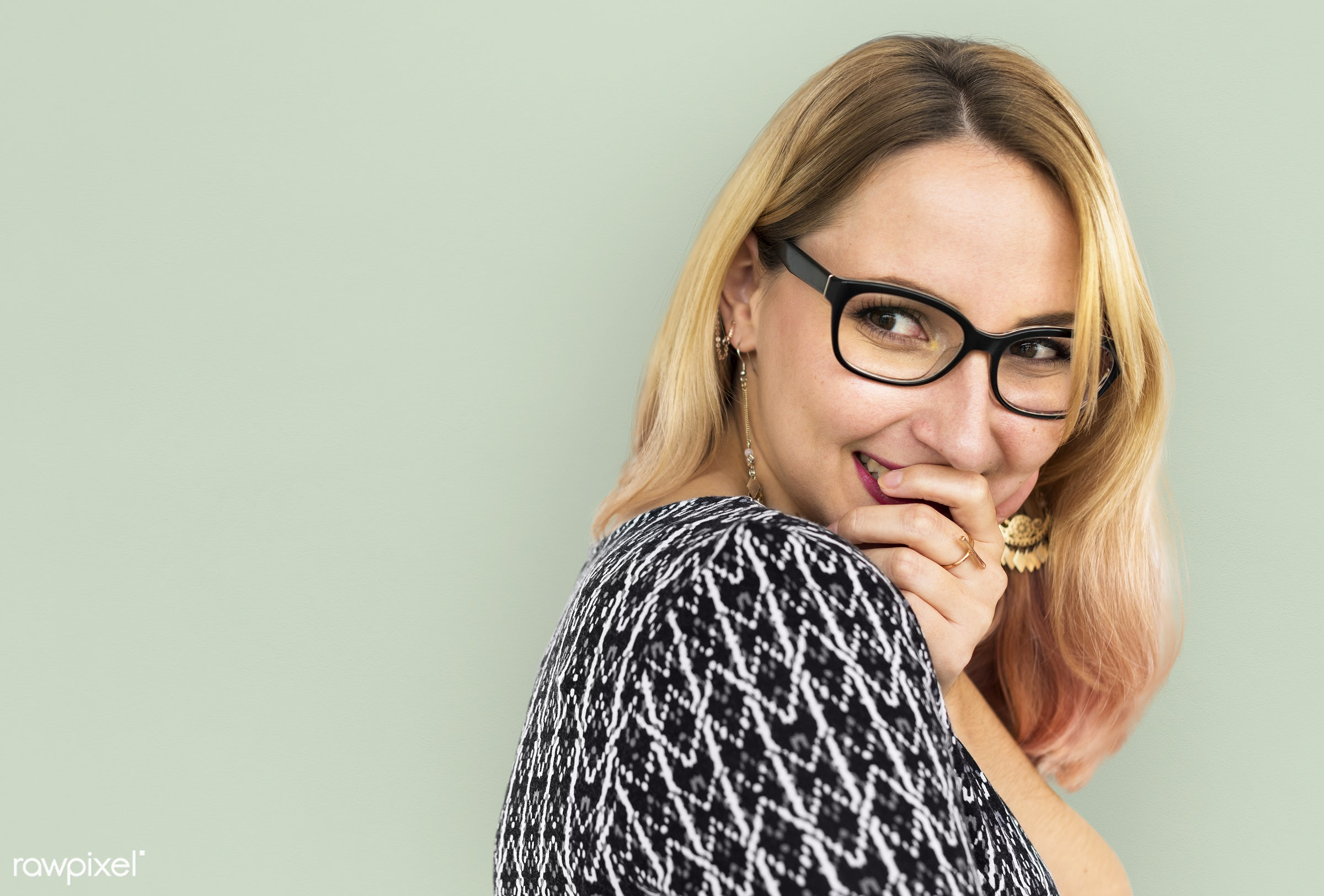 studio, expression, pastel, face, person, glasses, one, blond, cute, pretty, people, modern, laughing, girl, attractive,...