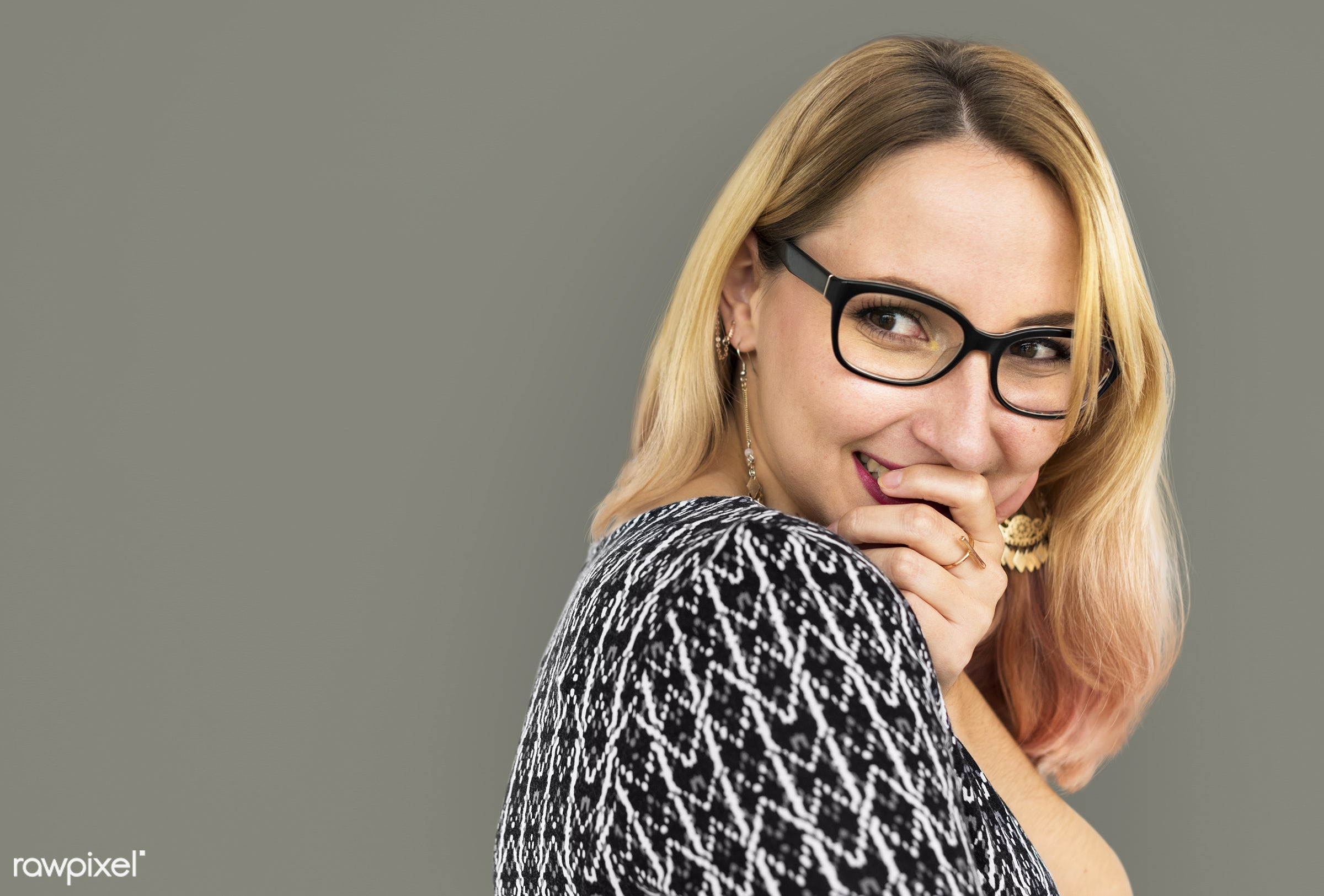 studio, expression, face, person, glasses, one, blond, cute, pretty, people, modern, laughing, girl, woman, happy,...