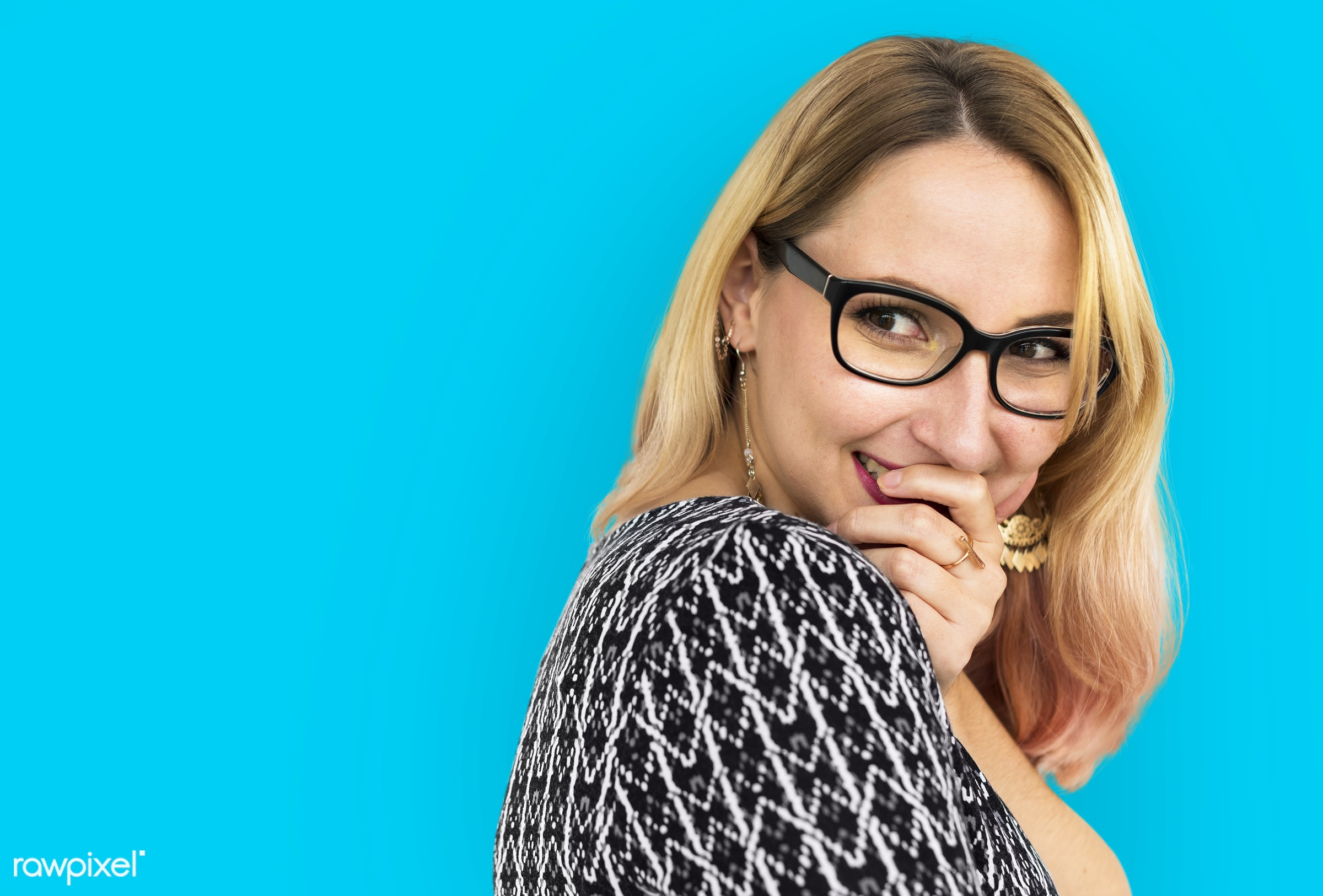 expression, studio, face, person, glasses, one, blond, vibrant, cute, pretty, people, modern, laughing, girl, attractive,...