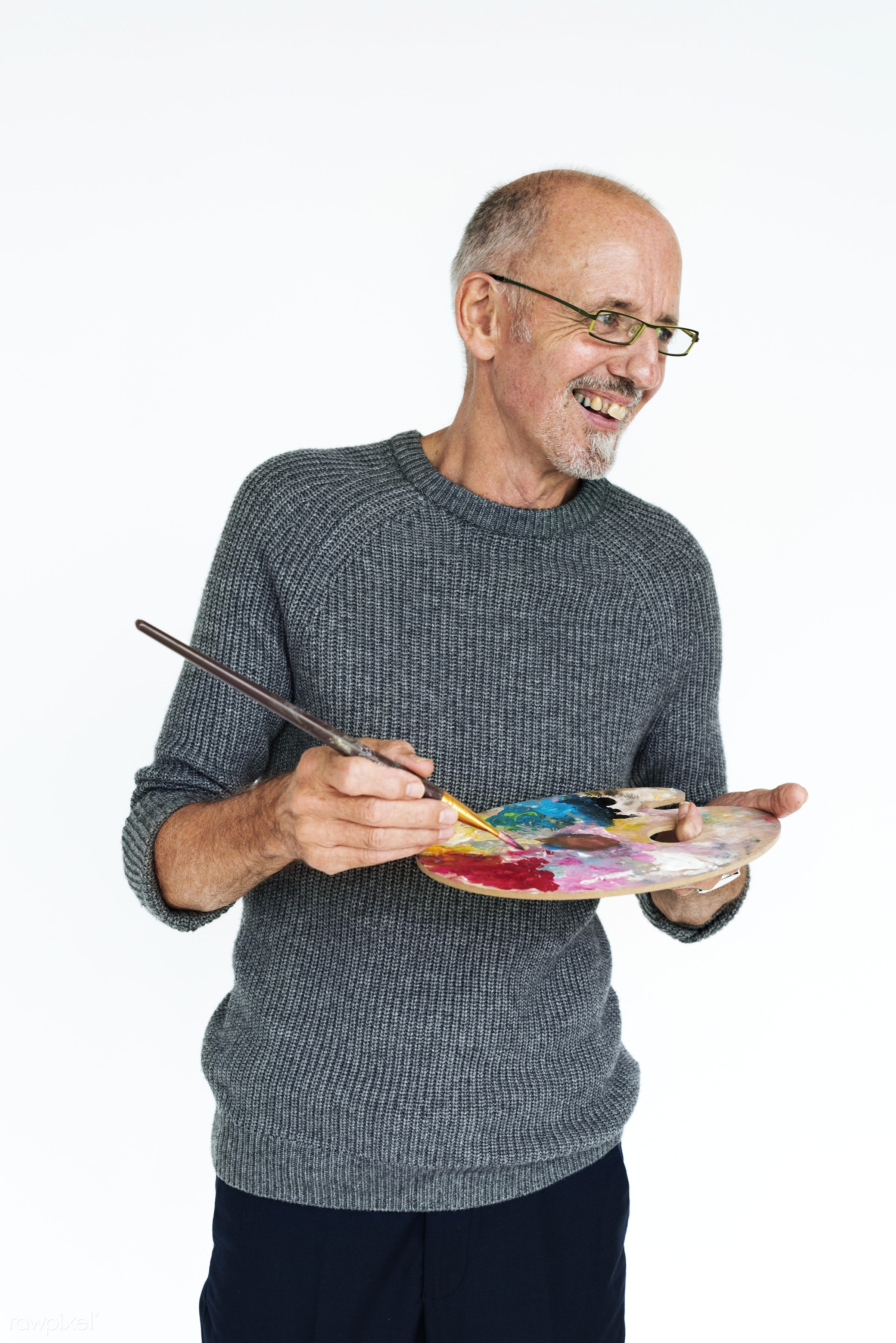 studio, expression, person, holding, palette, people, lifestyle, cheerful, smiling, isolated, laugh, creative, colors, art,...