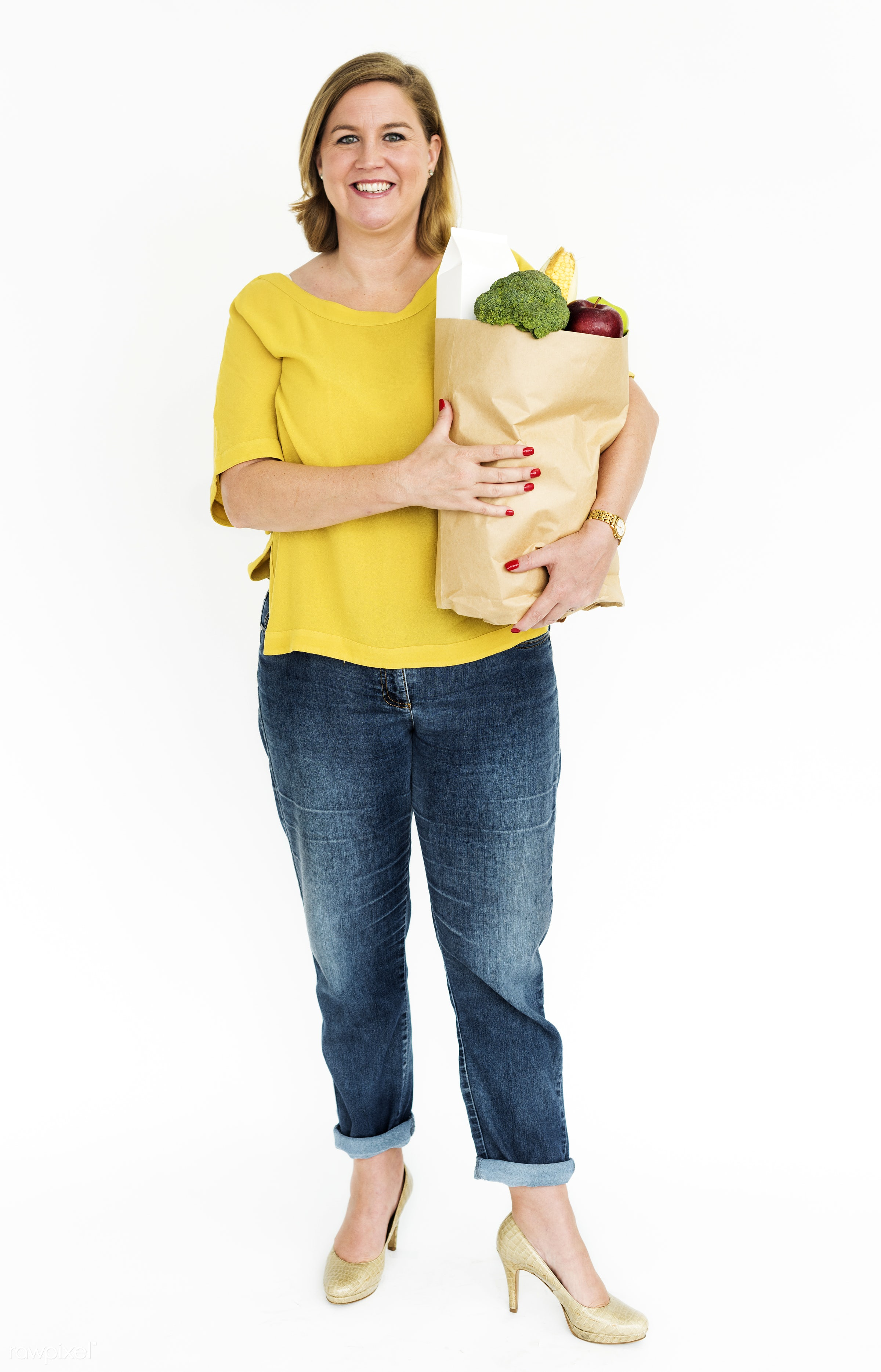 studio, grocery, person, holding, one, people, caucasian, woman, happy, errand, casual, buying, cheerful, smiling, isolated...