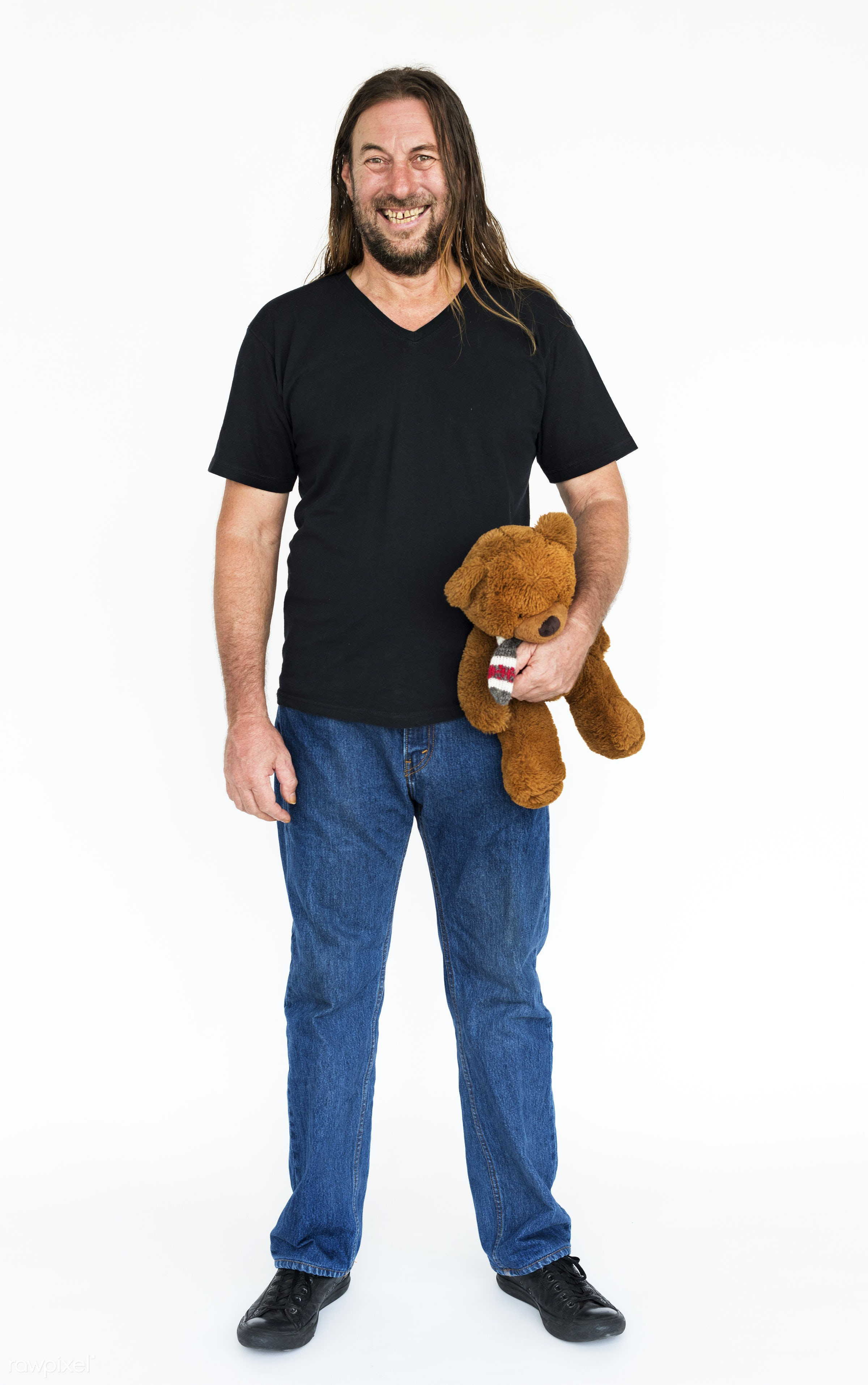 studio, expression, face, person, playful, teddy bear, scruffy, holding, one, people, childish, toy, happy, biker, casual,...