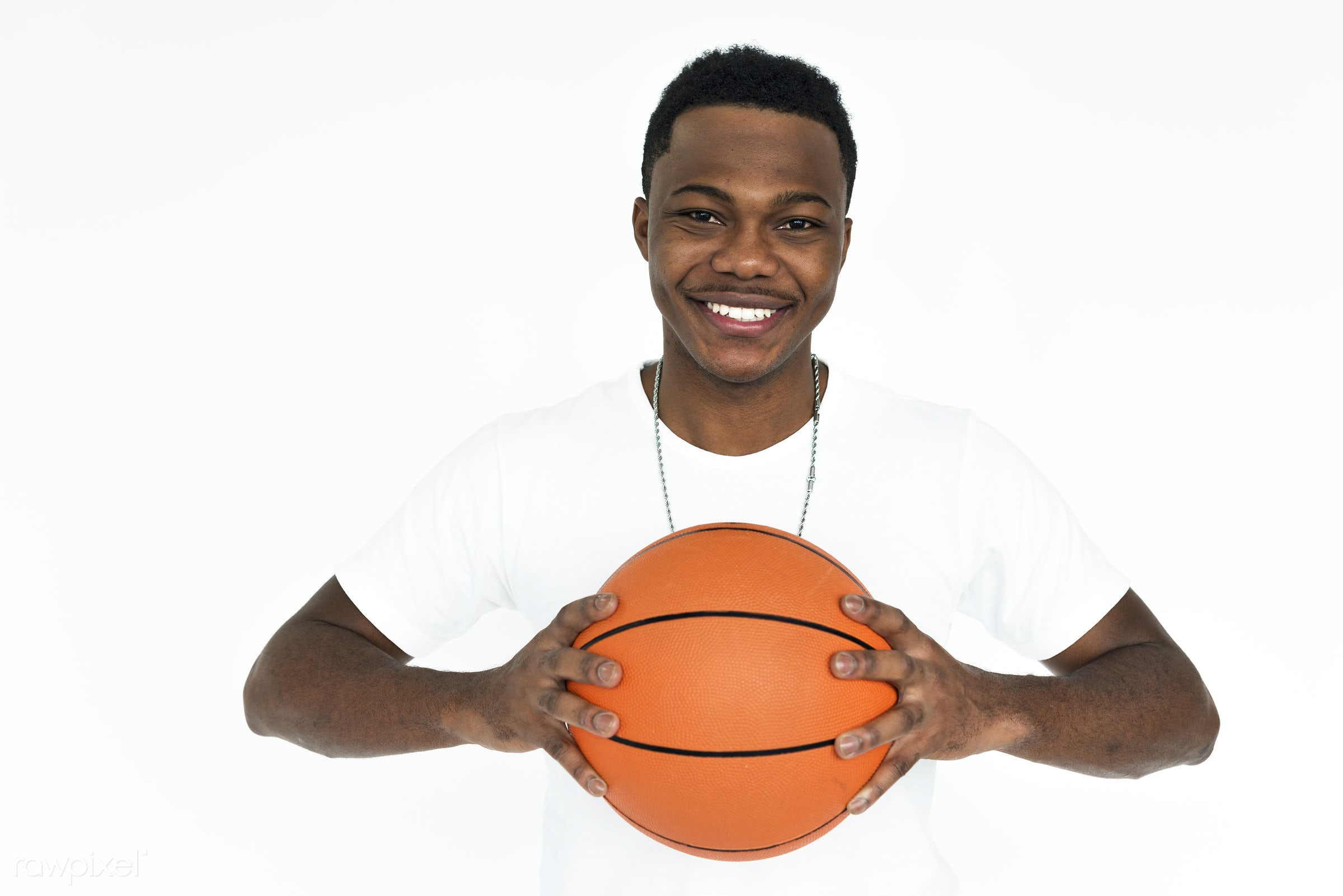 studio, basketball, expression, person, holding, people, positivity, positive, smile, isolated, african descent, white,...