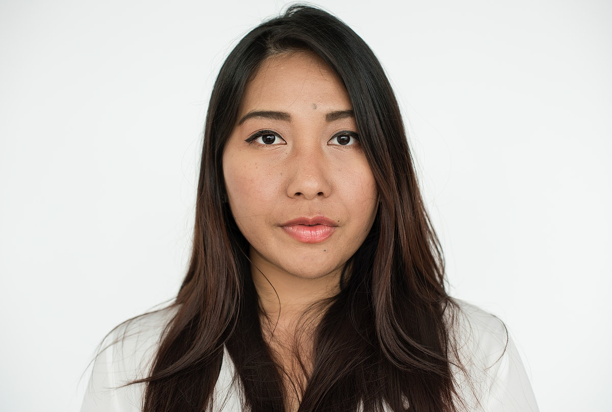 Worldface-Asian woman in a white background