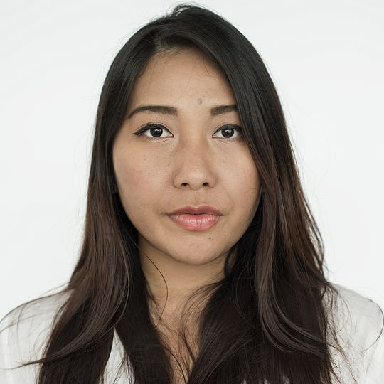 Worldface-Thai woman in a white background