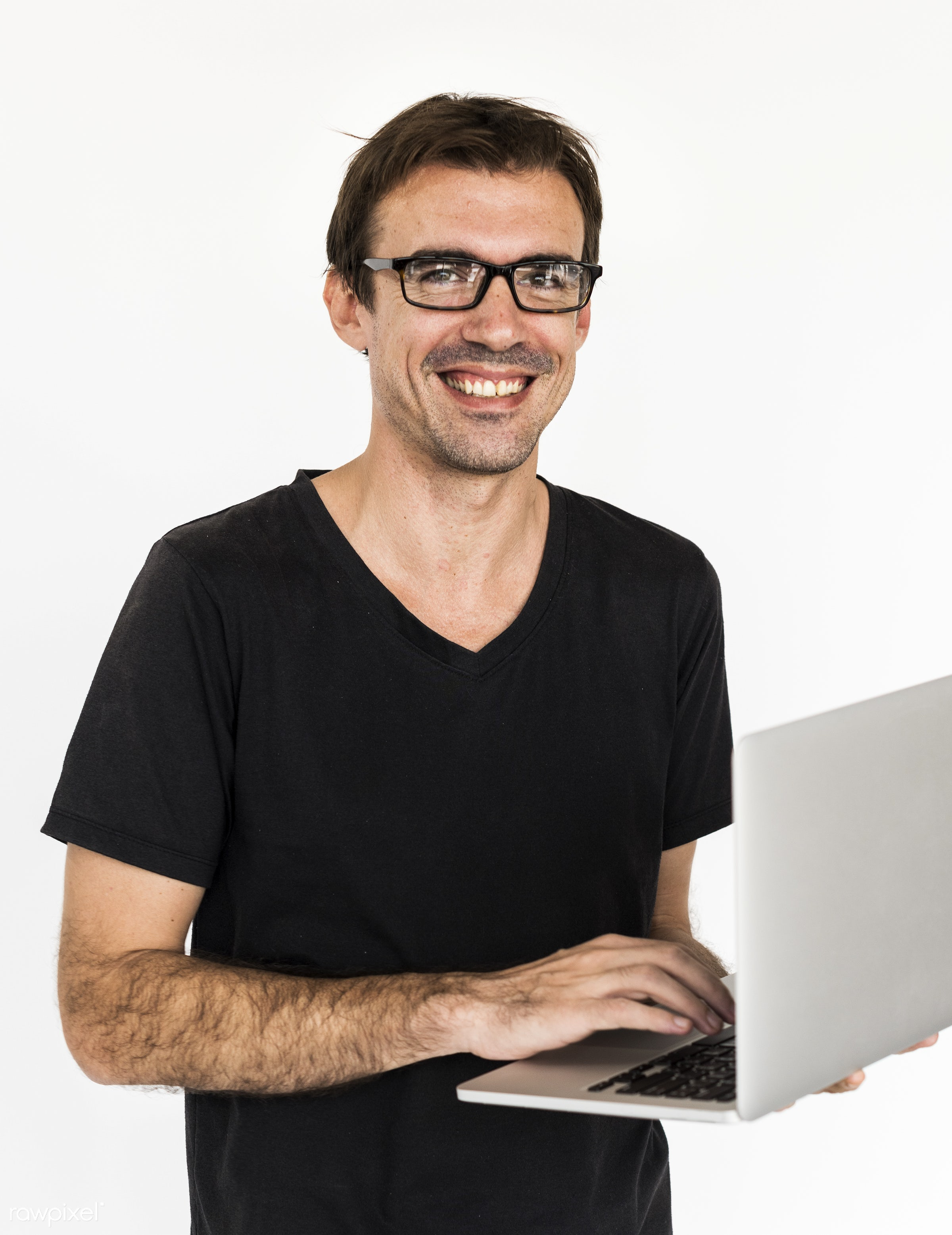 studio, impressed, using, person, technology, portable, holding, caucasian, laptop, smile, positive, cheerful, isolated,...