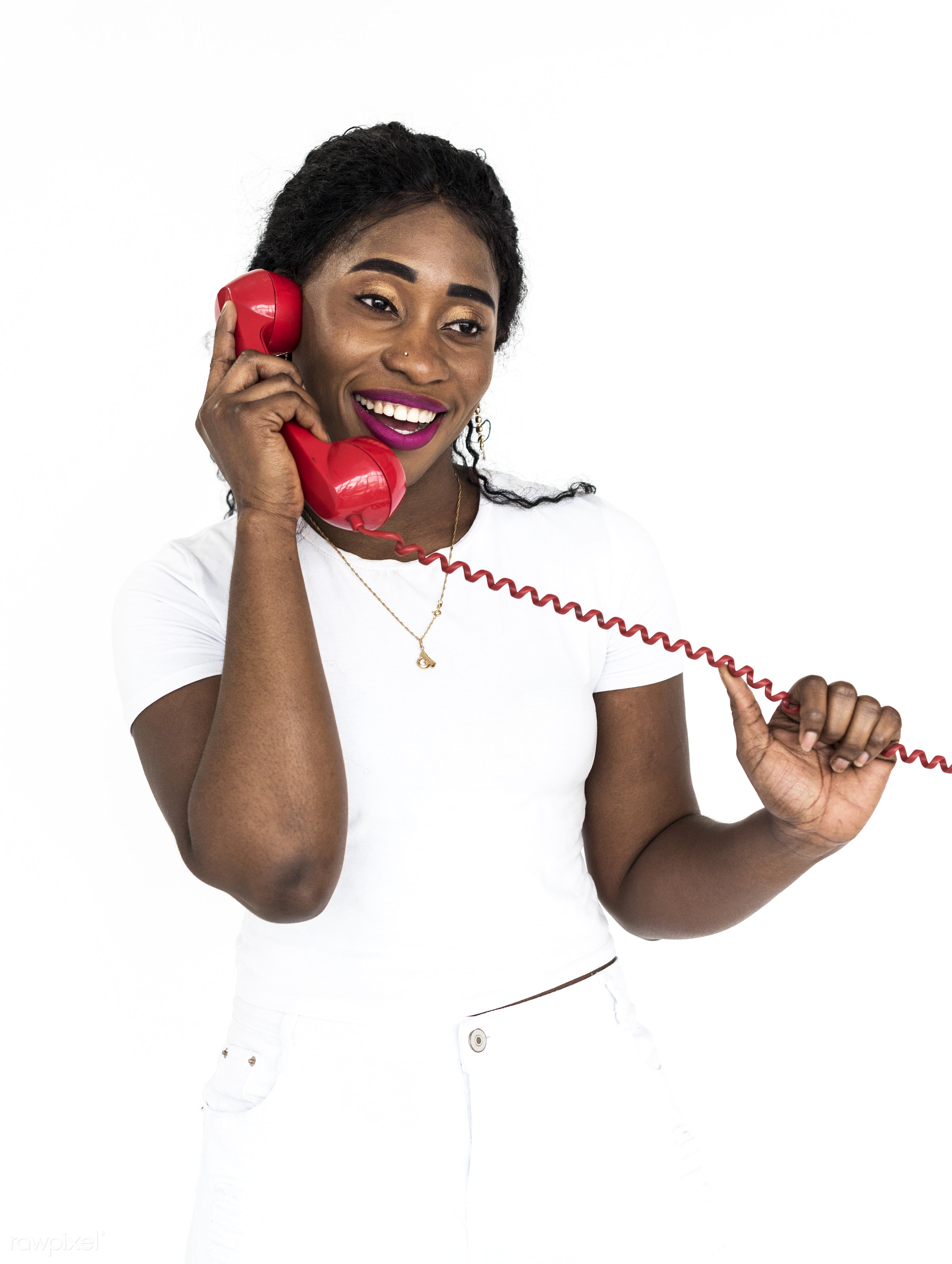 studio, expression, phone, person, people, woman, smile, positive, cheerful, cool, isolated, teen, african descent, white,...