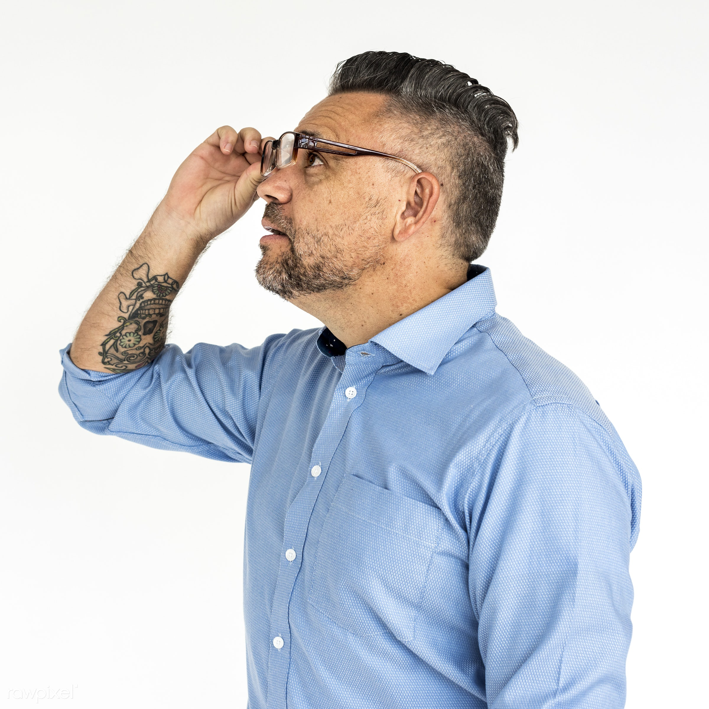 studio, expression, impressed, person, glasses, isolated on white, trendy, people, stylish, tattoo, man, shirt, isolated,...