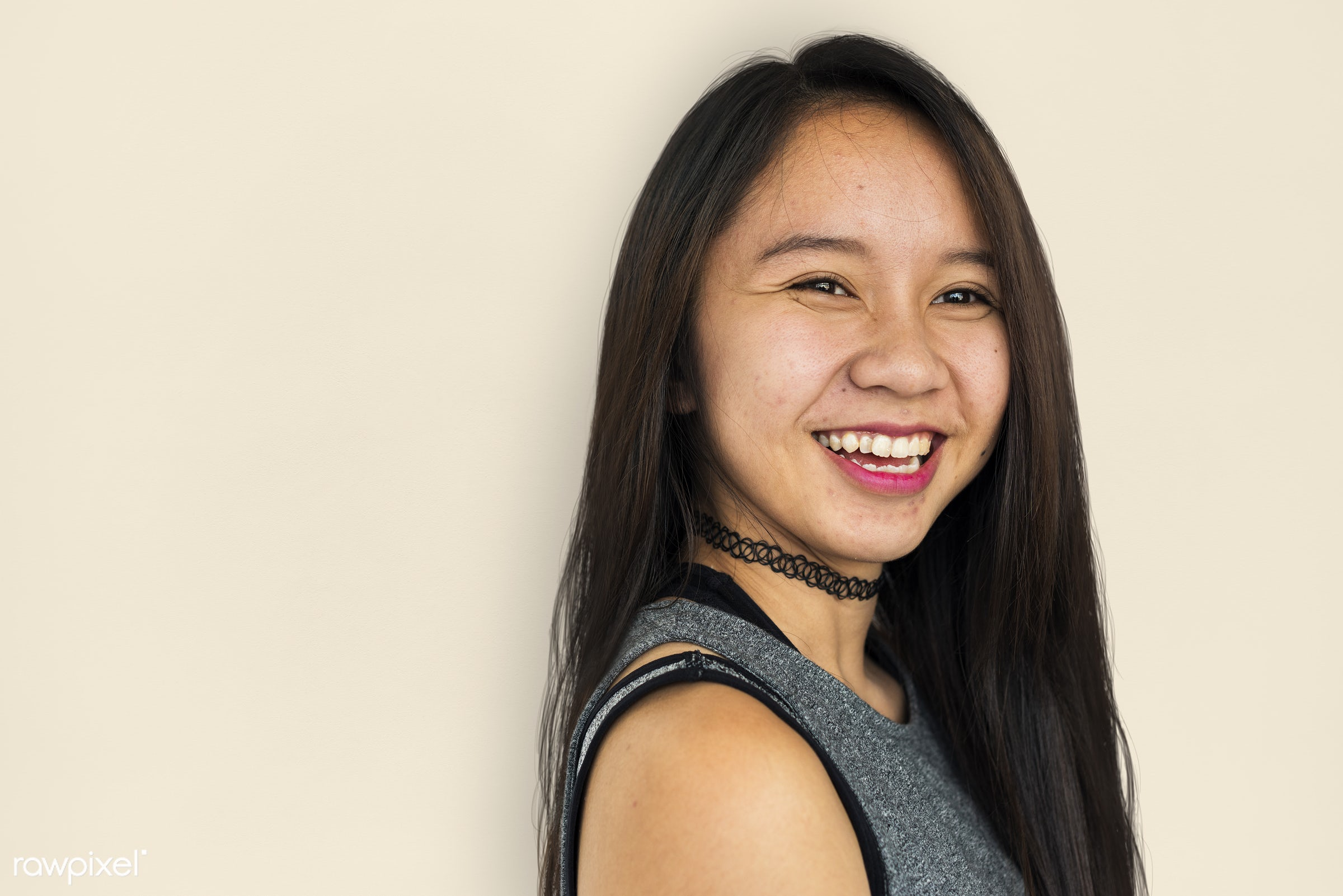 studio, expression, face, person, thai, people, asian, girl, joyous, happy, attractive, smile, cheerful, smiling, isolated,...