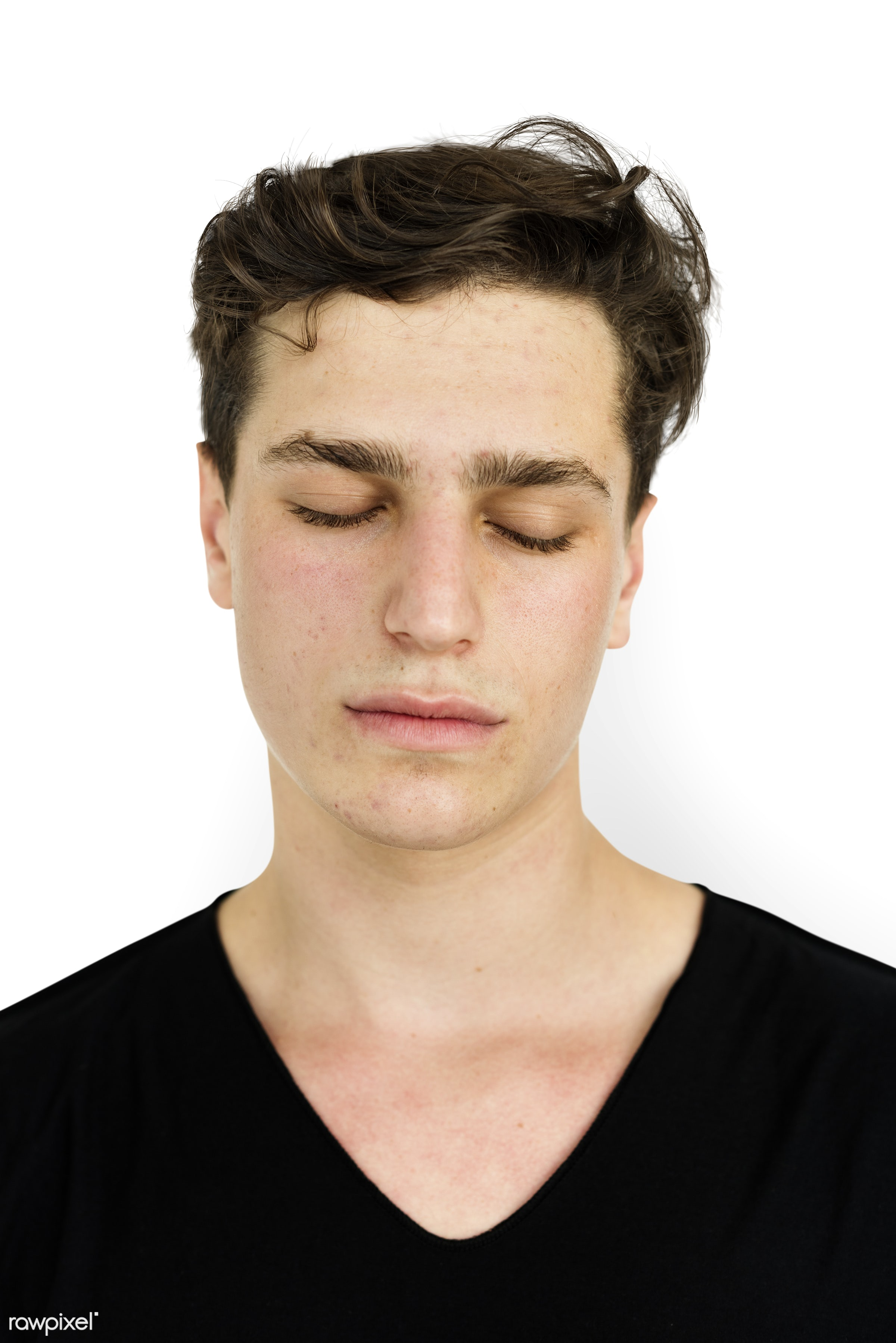 isolated on white, alone, boy, closed eyes, emotion, expression, face, isolated, man, one, portrait, studio, white...