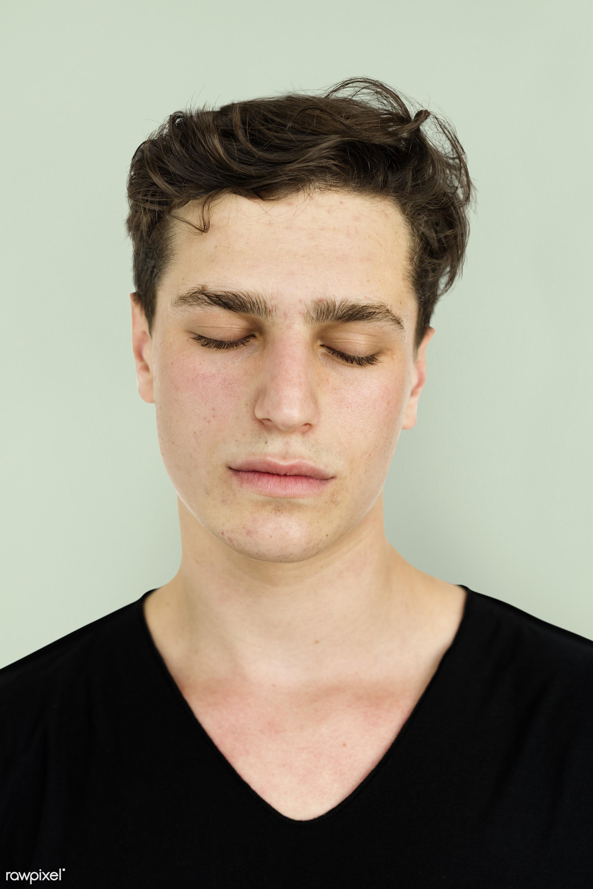 alone, boy, closed eyes, emotion, expression, face, isolated, isolated on white, man, one, portrait, studio, white...