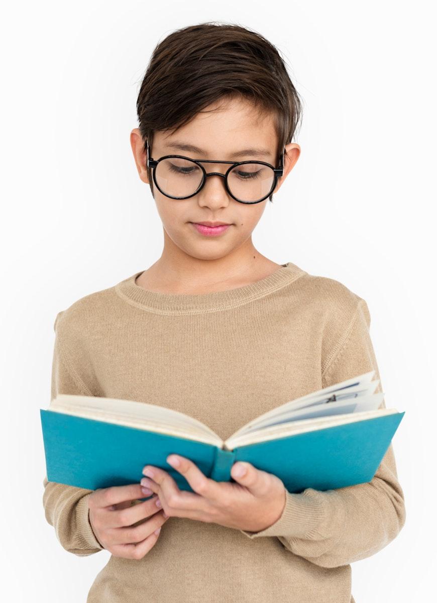 Little Boy Kid Adorable Cute Book Education Portrait Concept