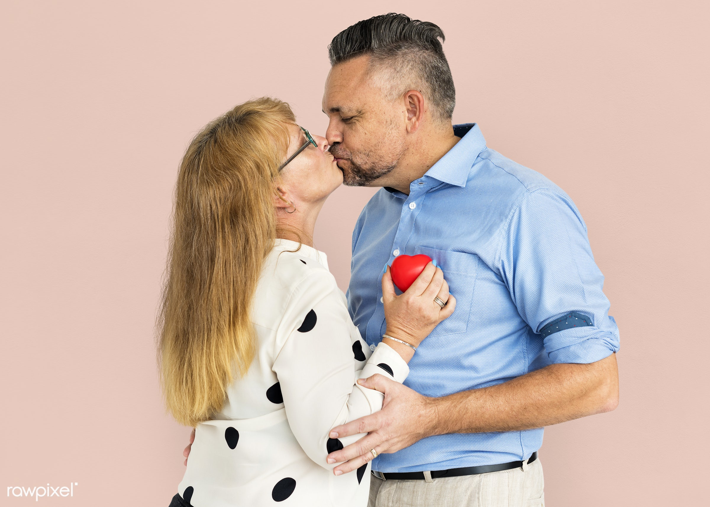 studio, person, people, together, caucasian, love, family, woman, care, pink, cheerful, smiling, affection, heart, kissing,...