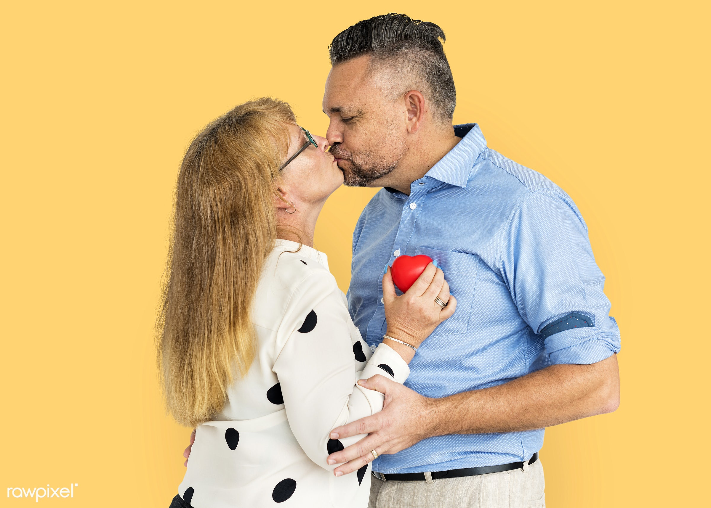studio, person, yellow, people, together, caucasian, love, family, woman, care, cheerful, smiling, affection, heart, kissing...