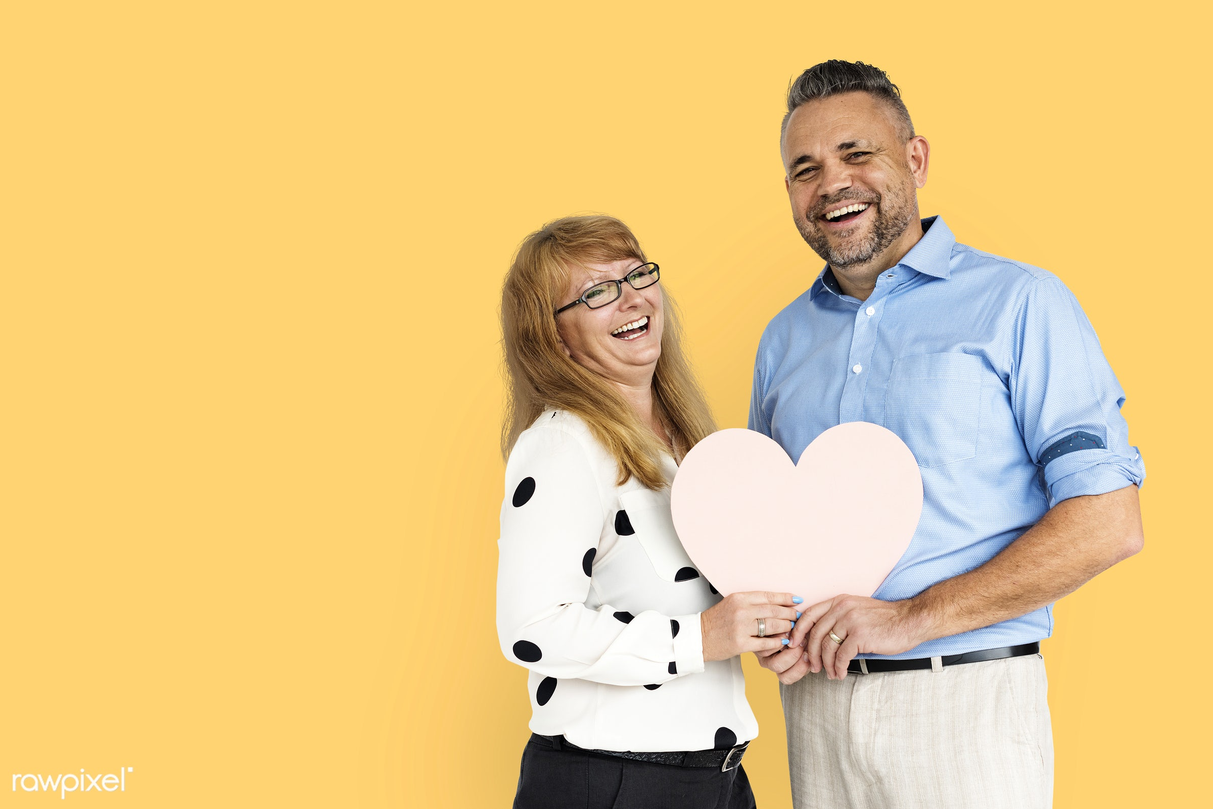 studio, person, yellow, people, together, caucasian, love, woman, family, care, cheerful, smiling, affection, heart,...
