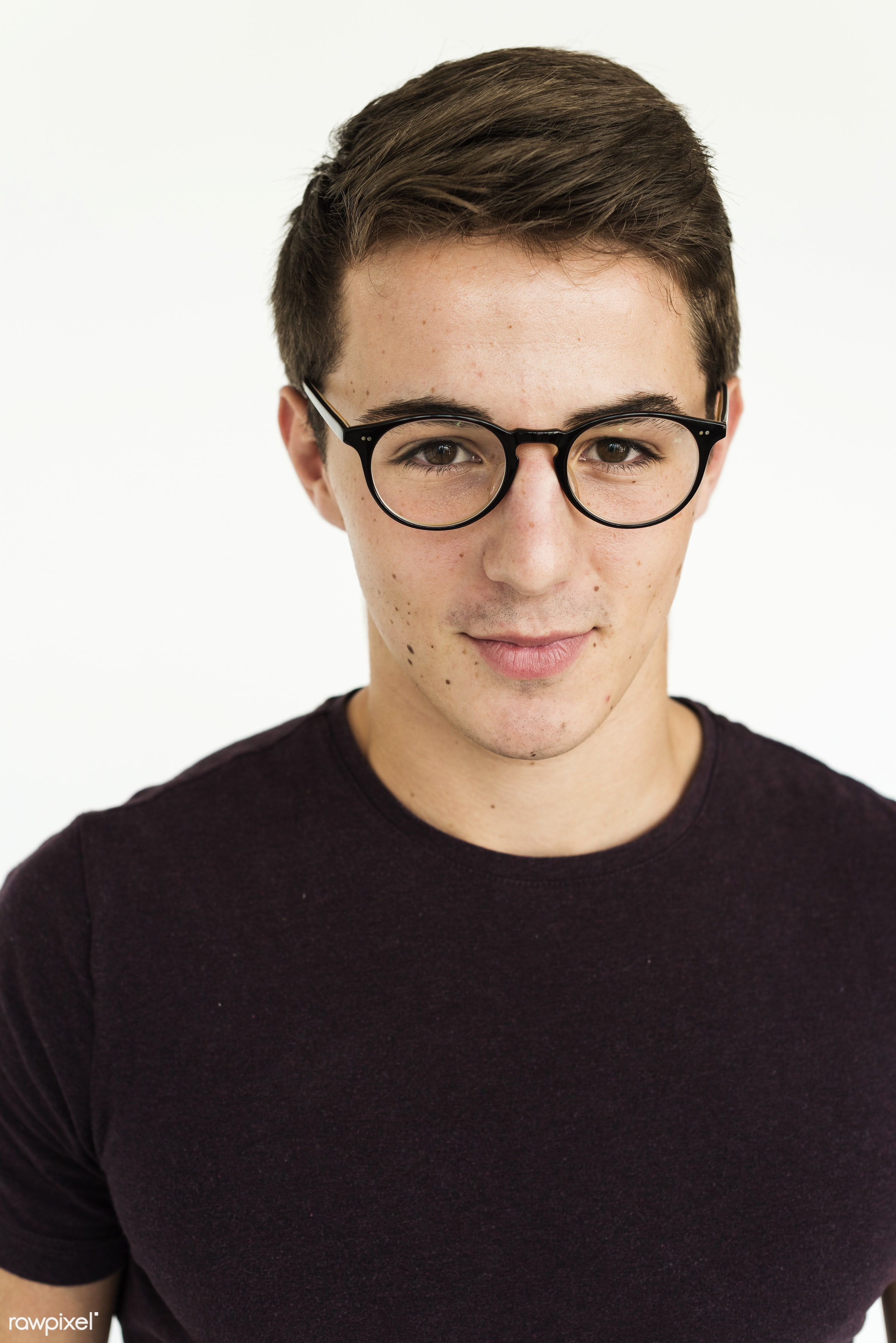expression, studio, person, glasses, isolated on white, nice, people, positivity, caucasian, cheerful, man, isolated, guy,...
