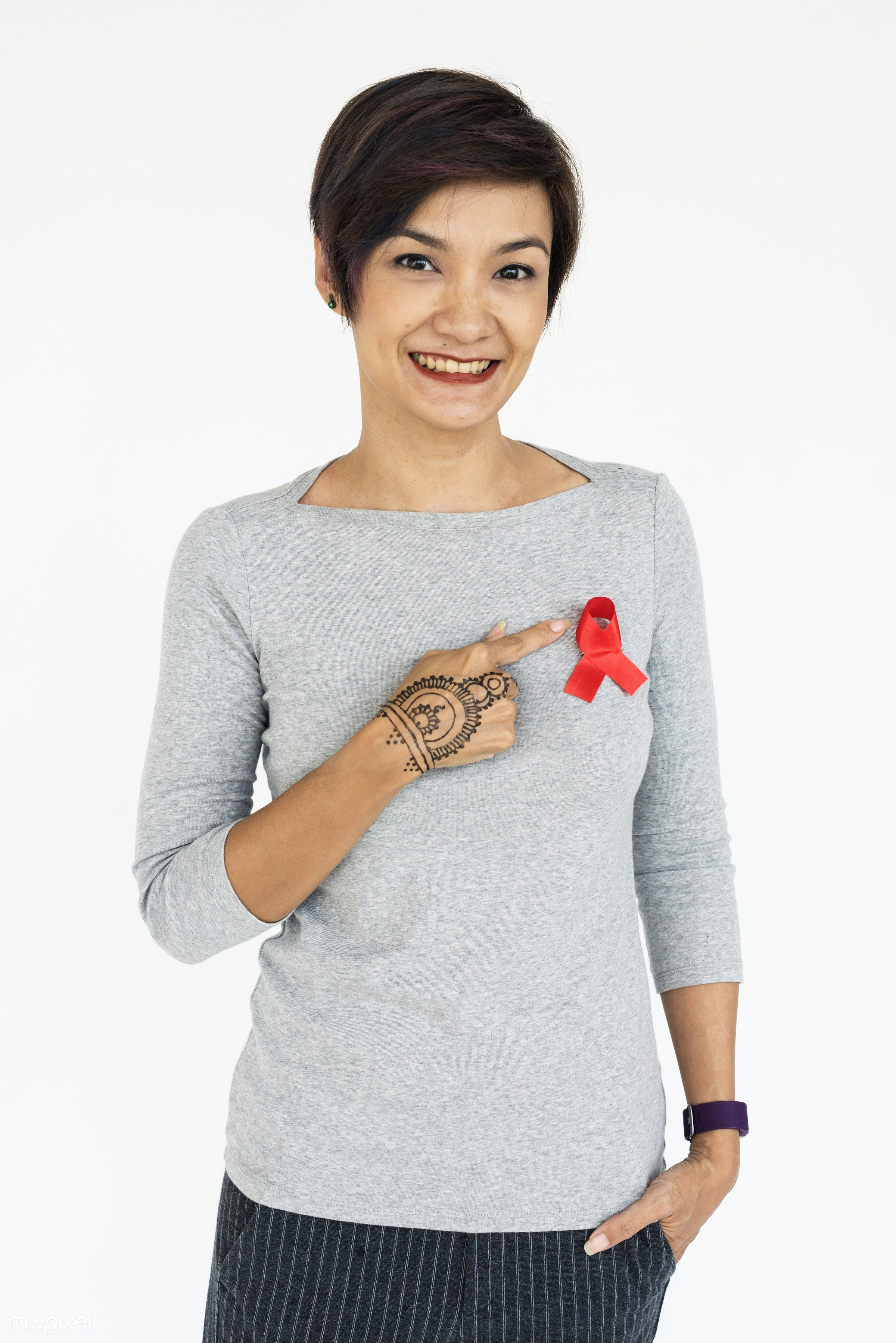 studio, expression, person, red ribbon, awareness, people, hiv, woman, smile, cheerful, smiling, isolated, white, happiness...
