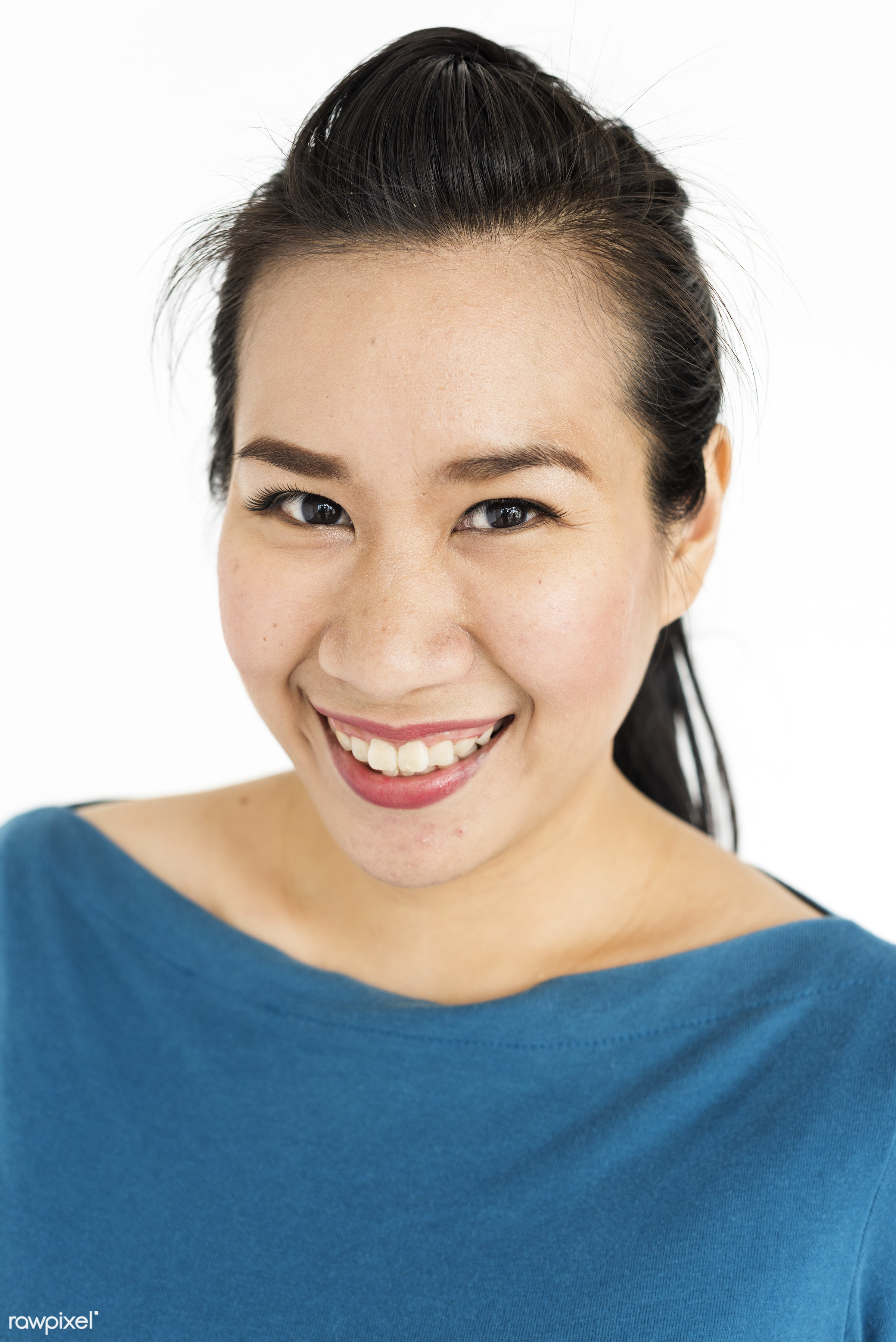 studio, expression, person, people, asian, woman, smile, cheerful, smiling, isolated, white, asian woman, happiness,...