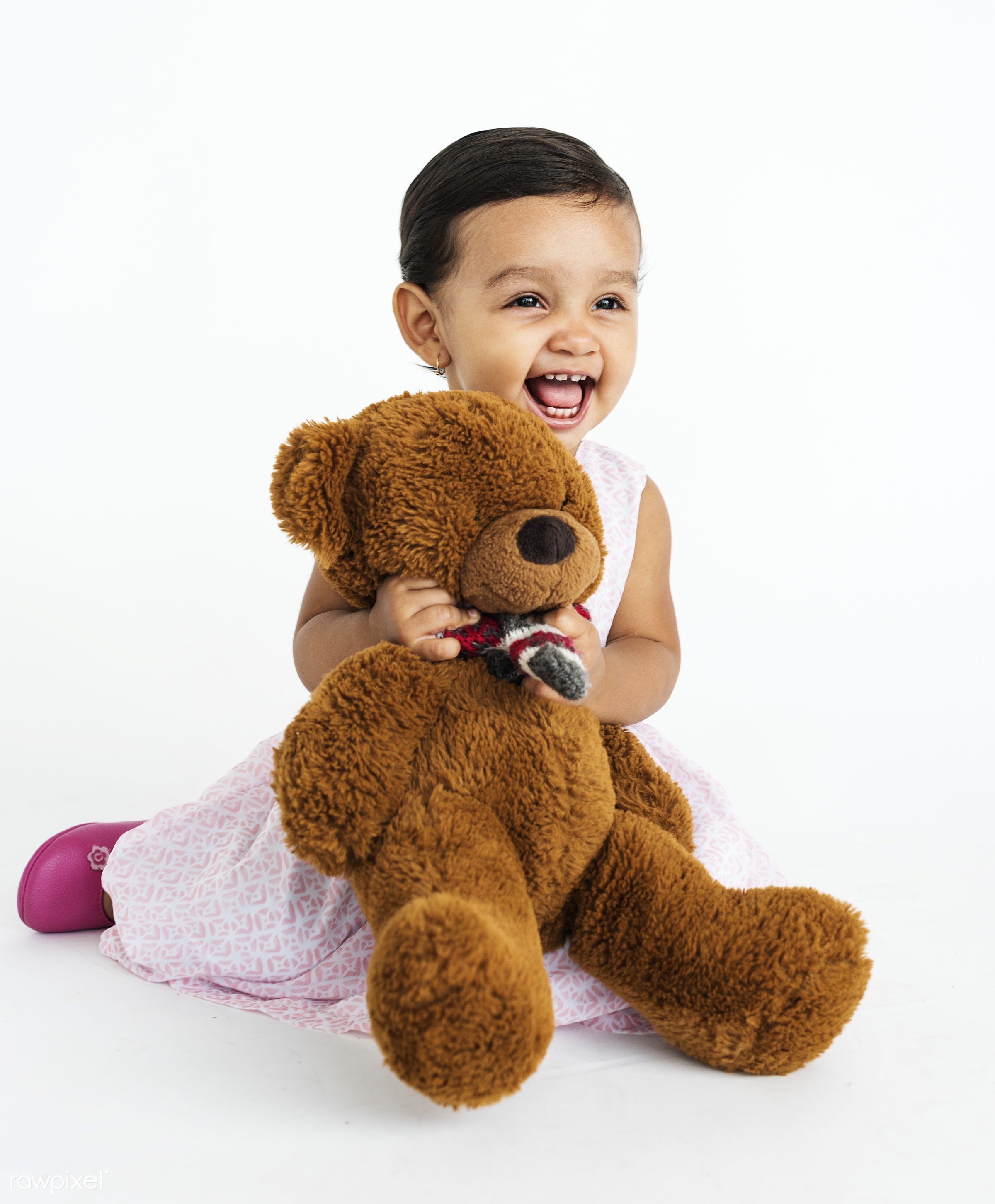 studio, expression, person, hug, holding, people, kid, childhood, smile, cheerful, smiling, isolated, little girl, white,...