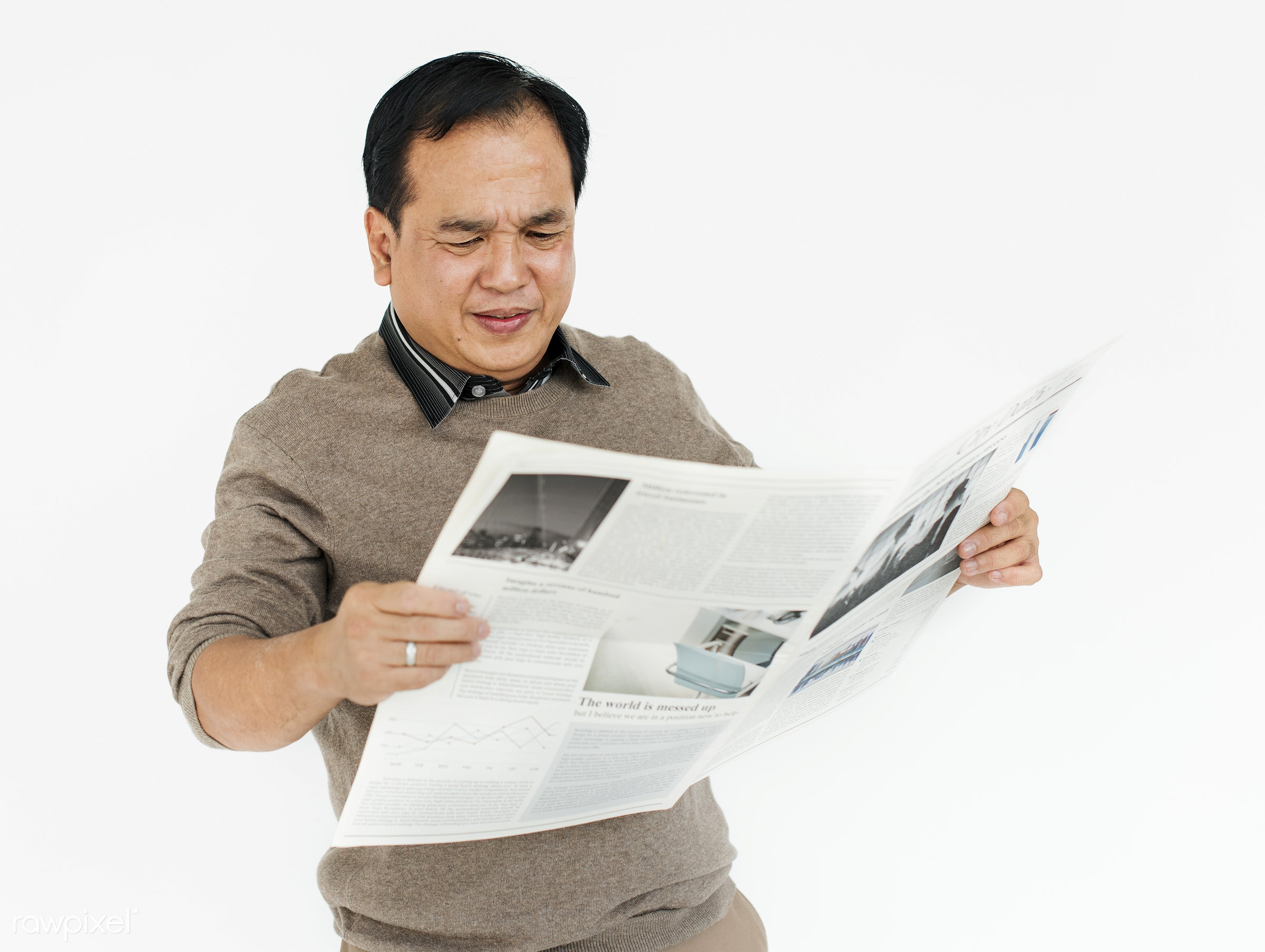 expression, studio, face, person, reading, isolated on white, people, asian, journal, asian ethnicity, casual, man, isolated...