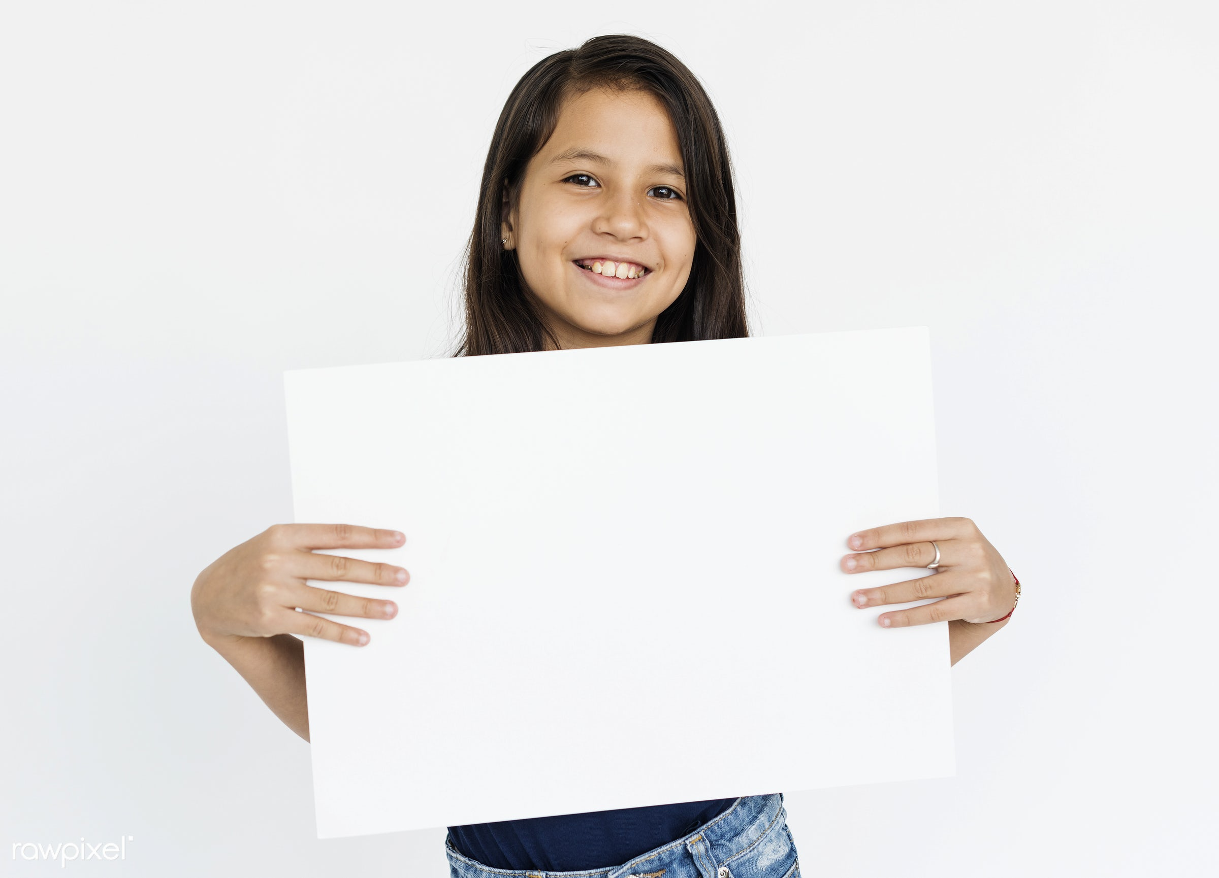 studio, expression, person, holding, show, people, displaying, placard, woman, empty, positive, smile, cheerful, smiling,...