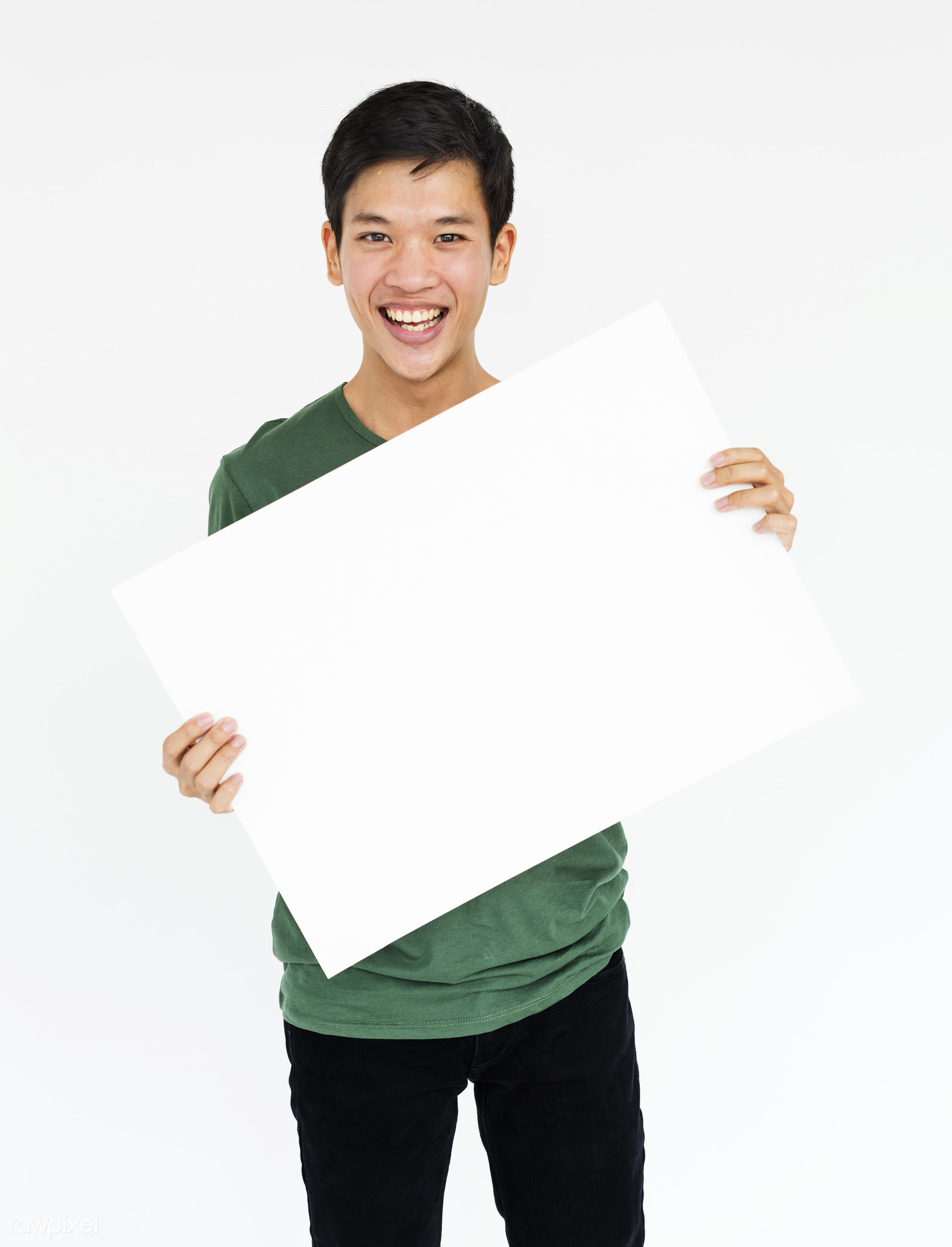 studio, expression, person, holding, show, people, displaying, placard, empty, smile, positive, cheerful, smiling, copy,...