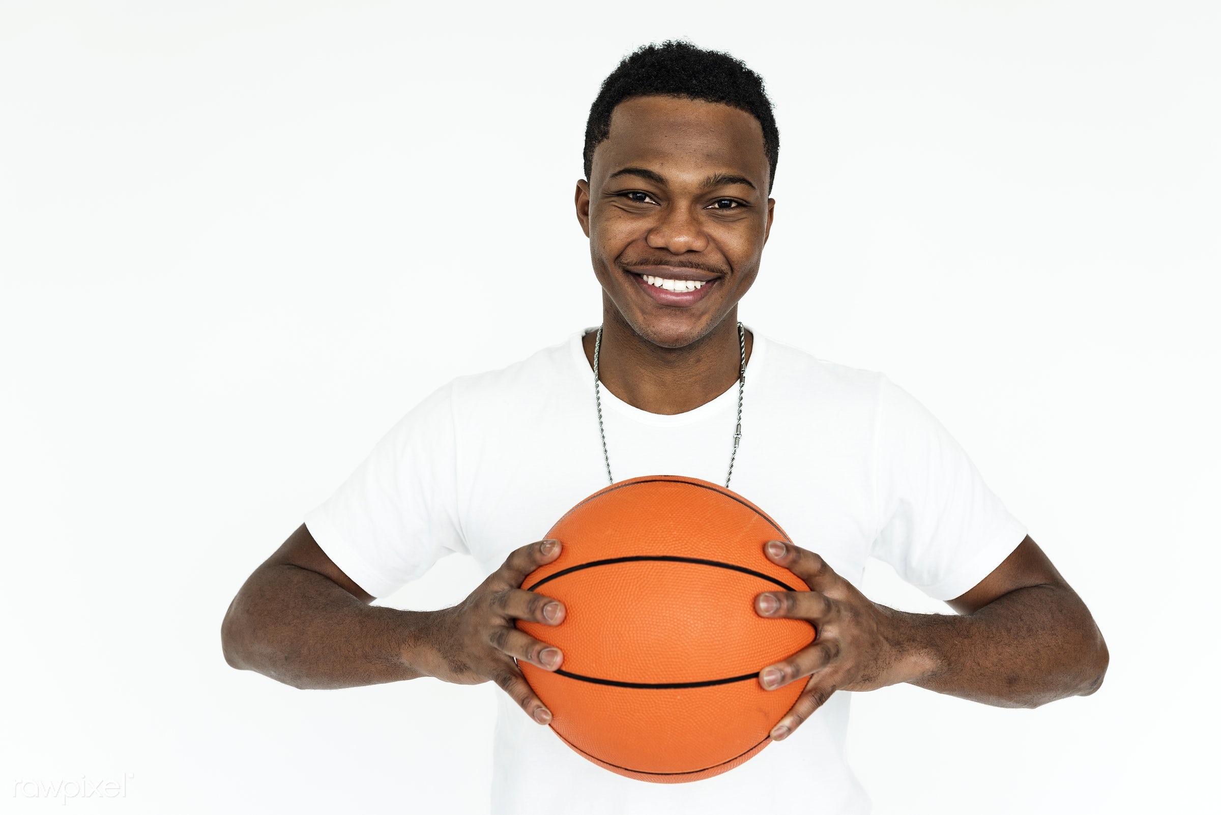 studio, basketball, expression, person, people, smile, cheerful, smiling, isolated, african descent, hobby, white, happiness...