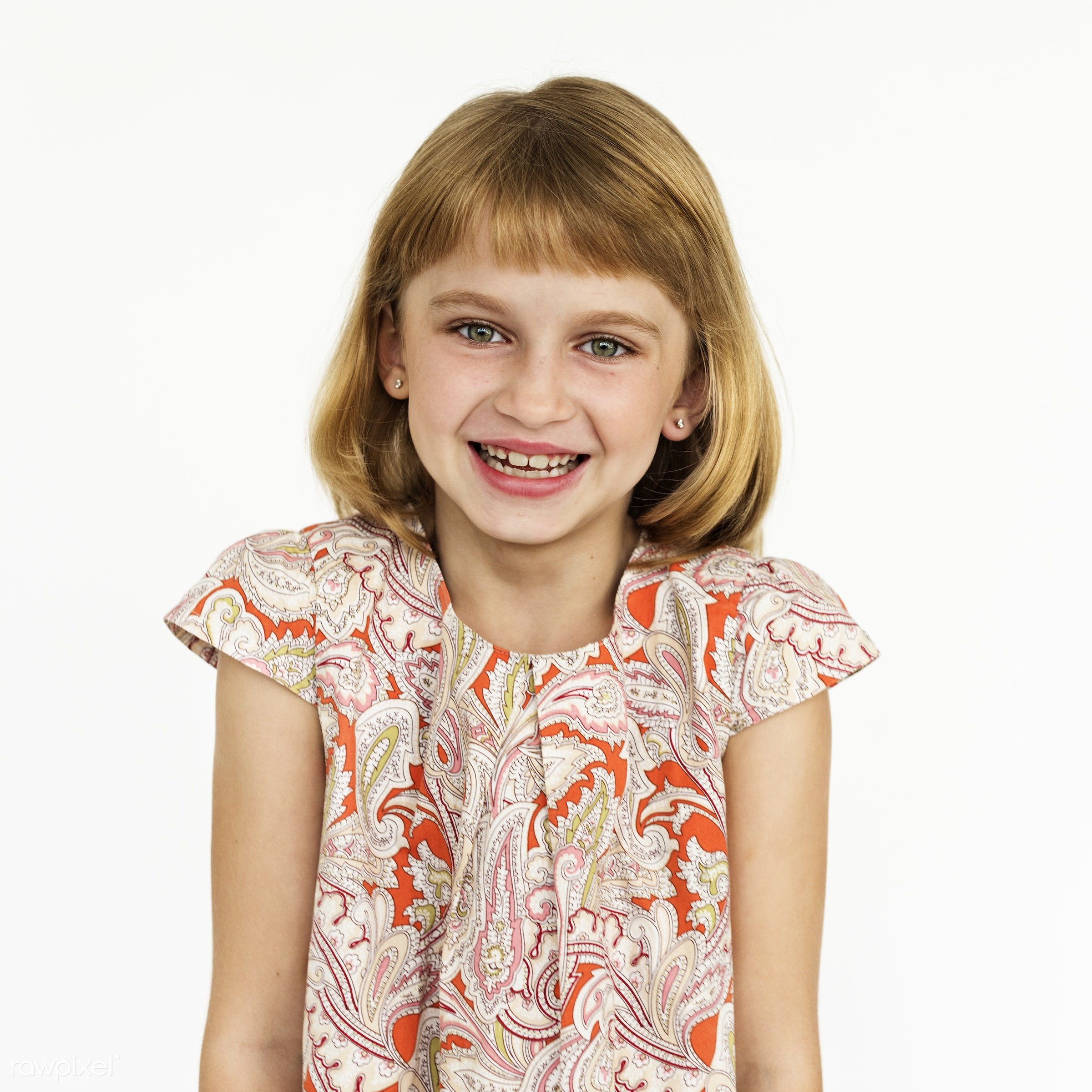 studio, expression, person, people, kid, childhood, smile, cheerful, smiling, isolated, little girl, white, happiness,...