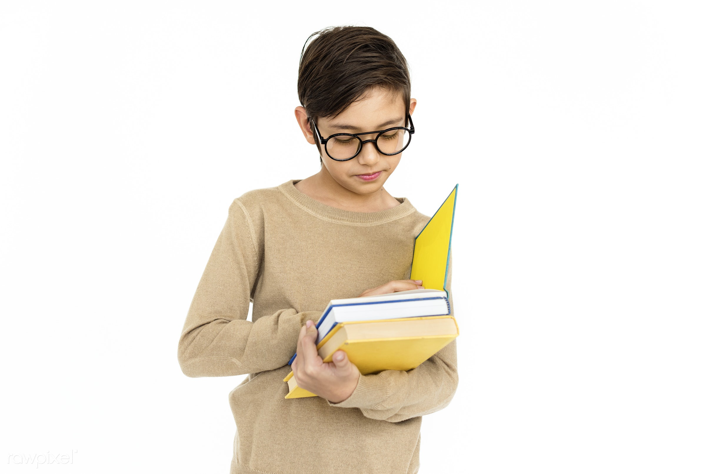 studio, expression, reading, person, people, kid, student, childhood, smile, cheerful, smiling, isolated, hobby, white,...