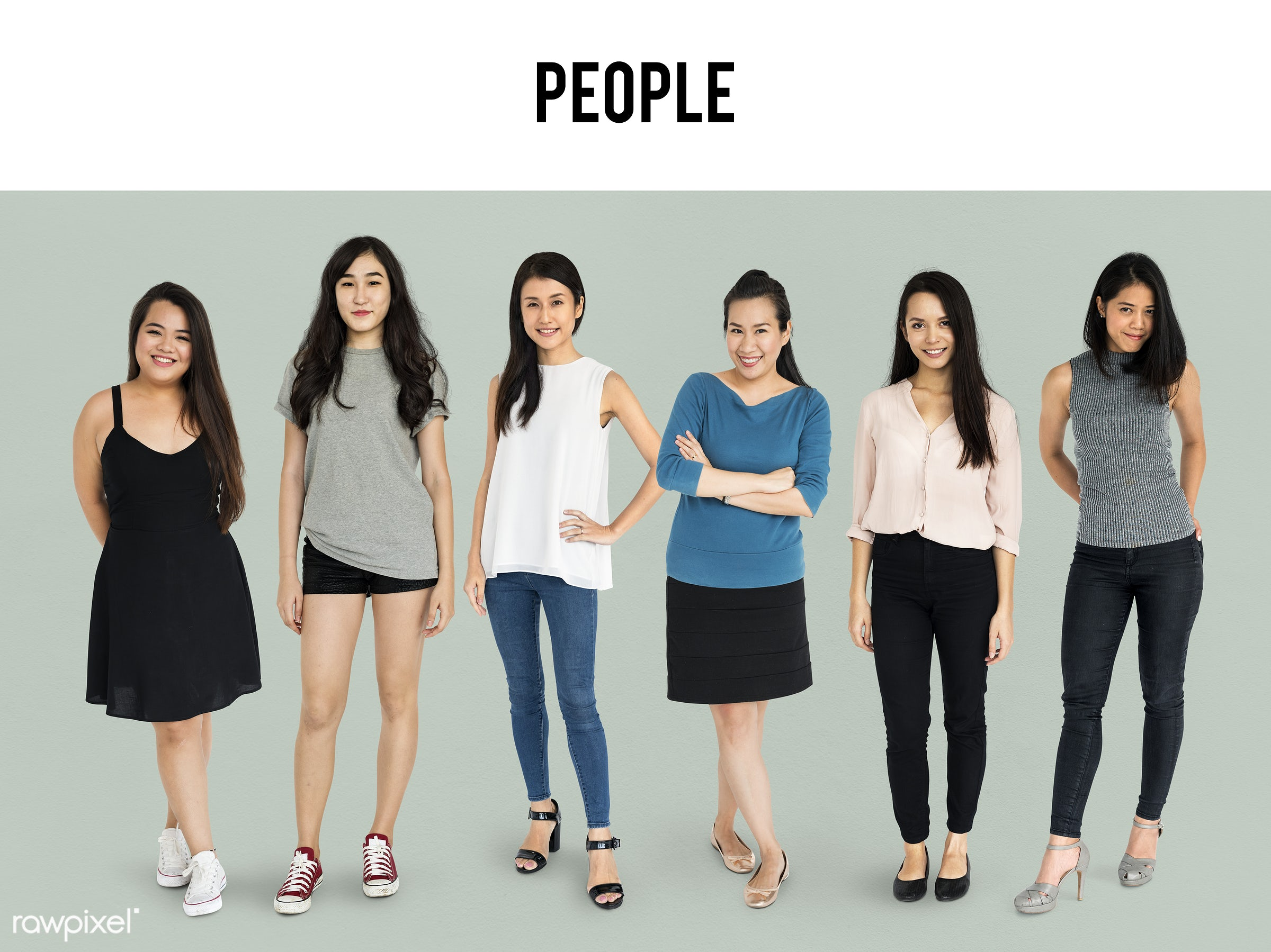 Diverse people set - studio, person, diverse, set, people, attraction, together, asian, life, black hair, woman, attractive...