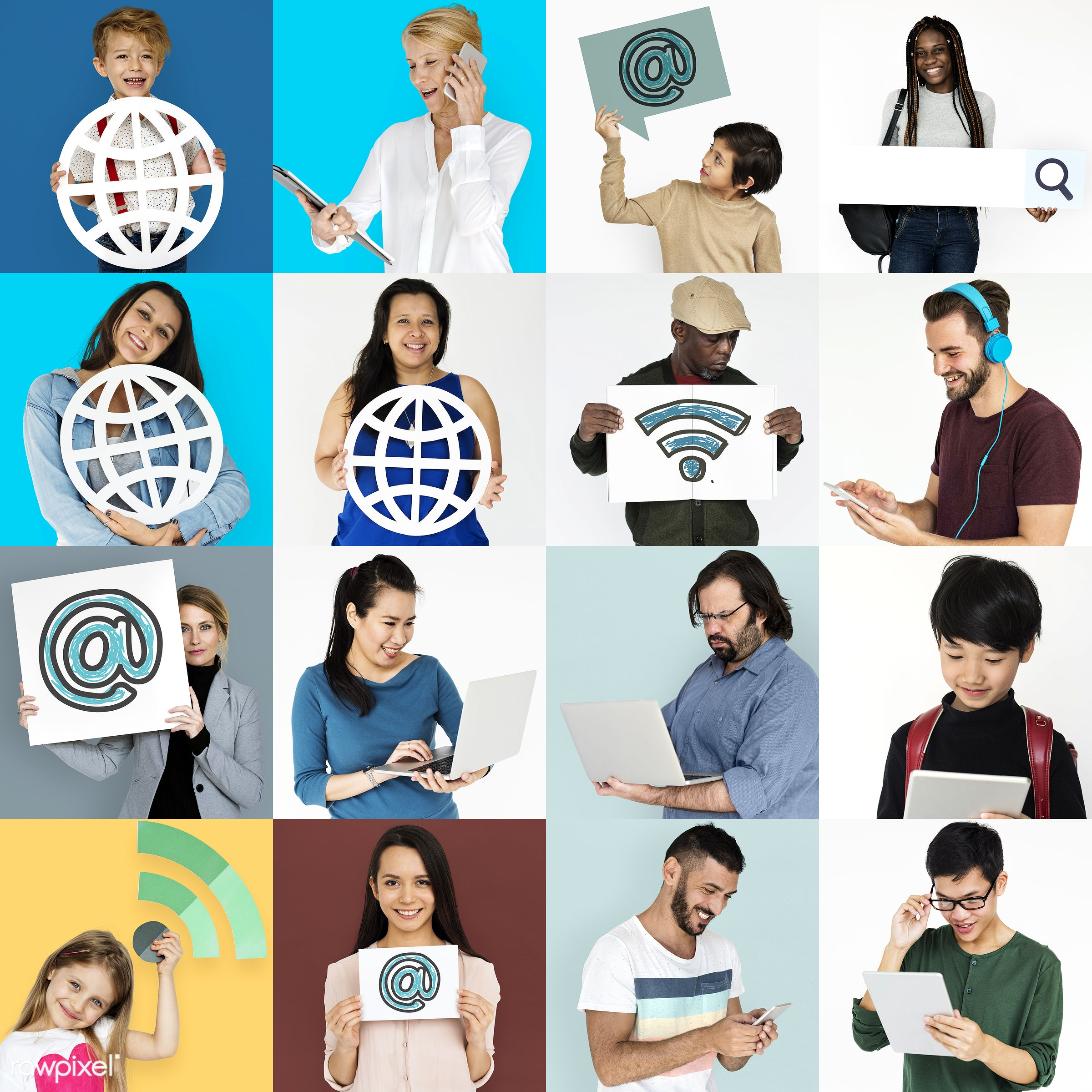 using, person, technology, diverse, variation, people, caucasian, kid, woman, laptop, headshot, connection, symbol, candid,...