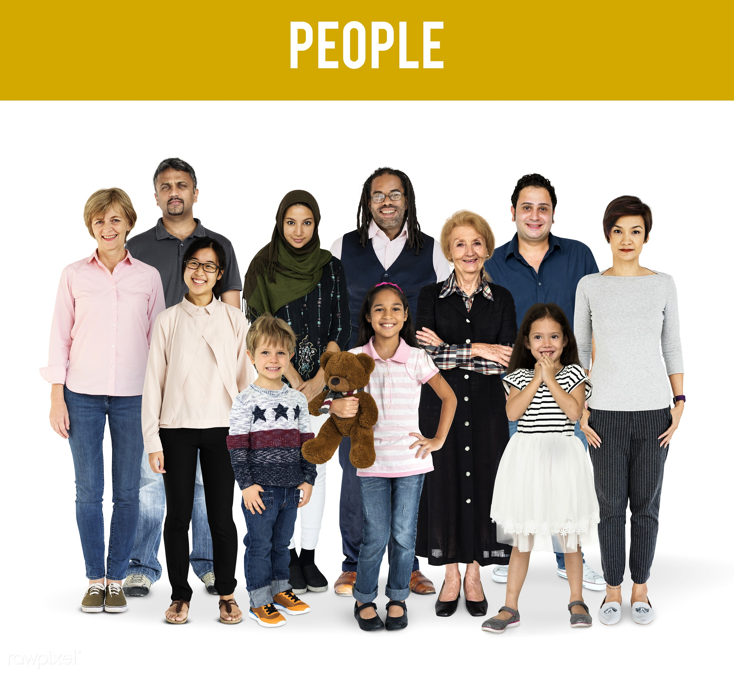 Diverse people set - studio, person, diverse, people, together, kid, retirement, young adult, woman, lifestyle, smile, baby...