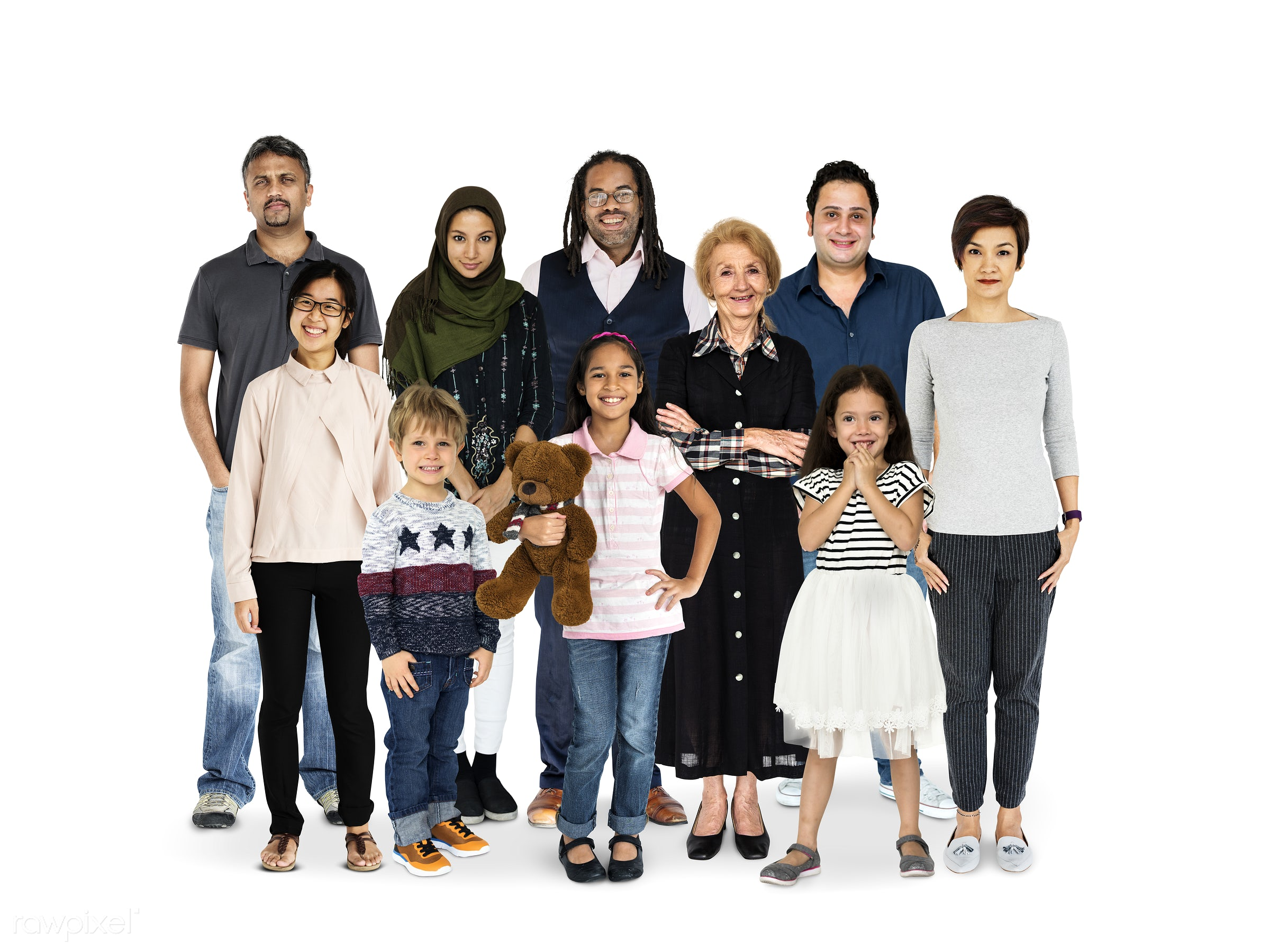 Diverse people set - adolescent, adult, baby boomer, boys, cheerful, child, children, collection, diverse, diversity,...