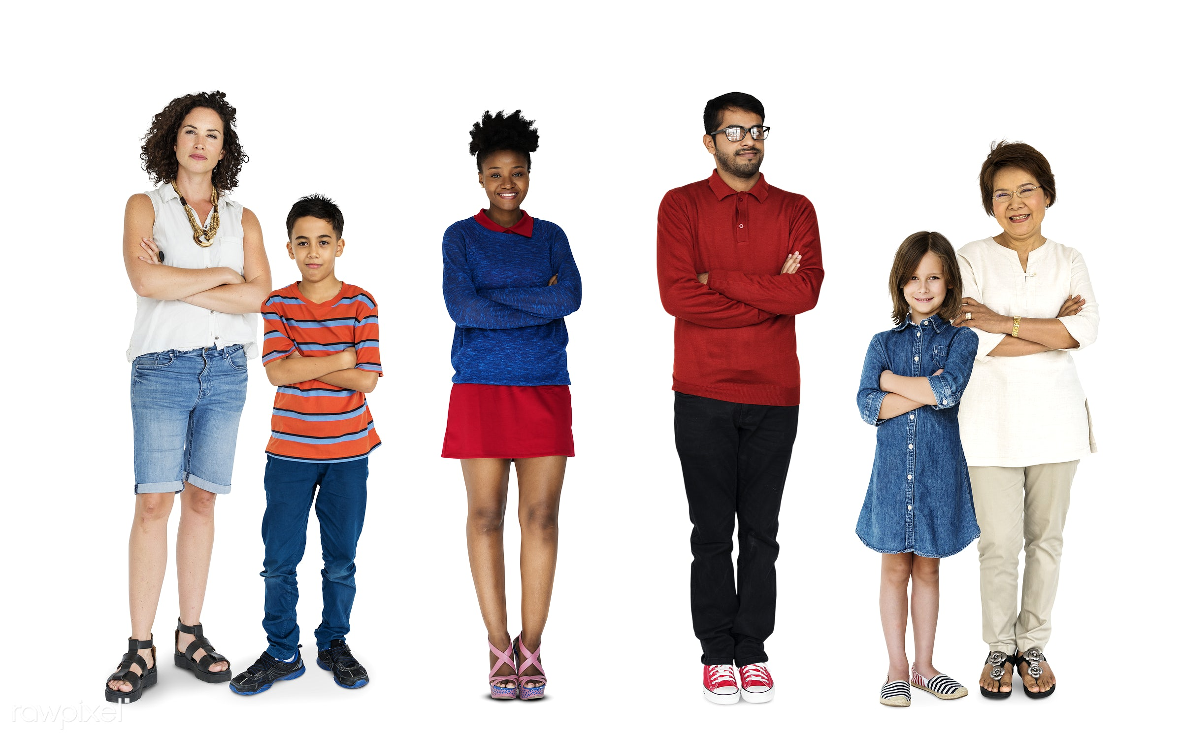 Diverse people set - studio, person, diverse, little, people, together, caucasian, kid, young adult, woman, lifestyle,...