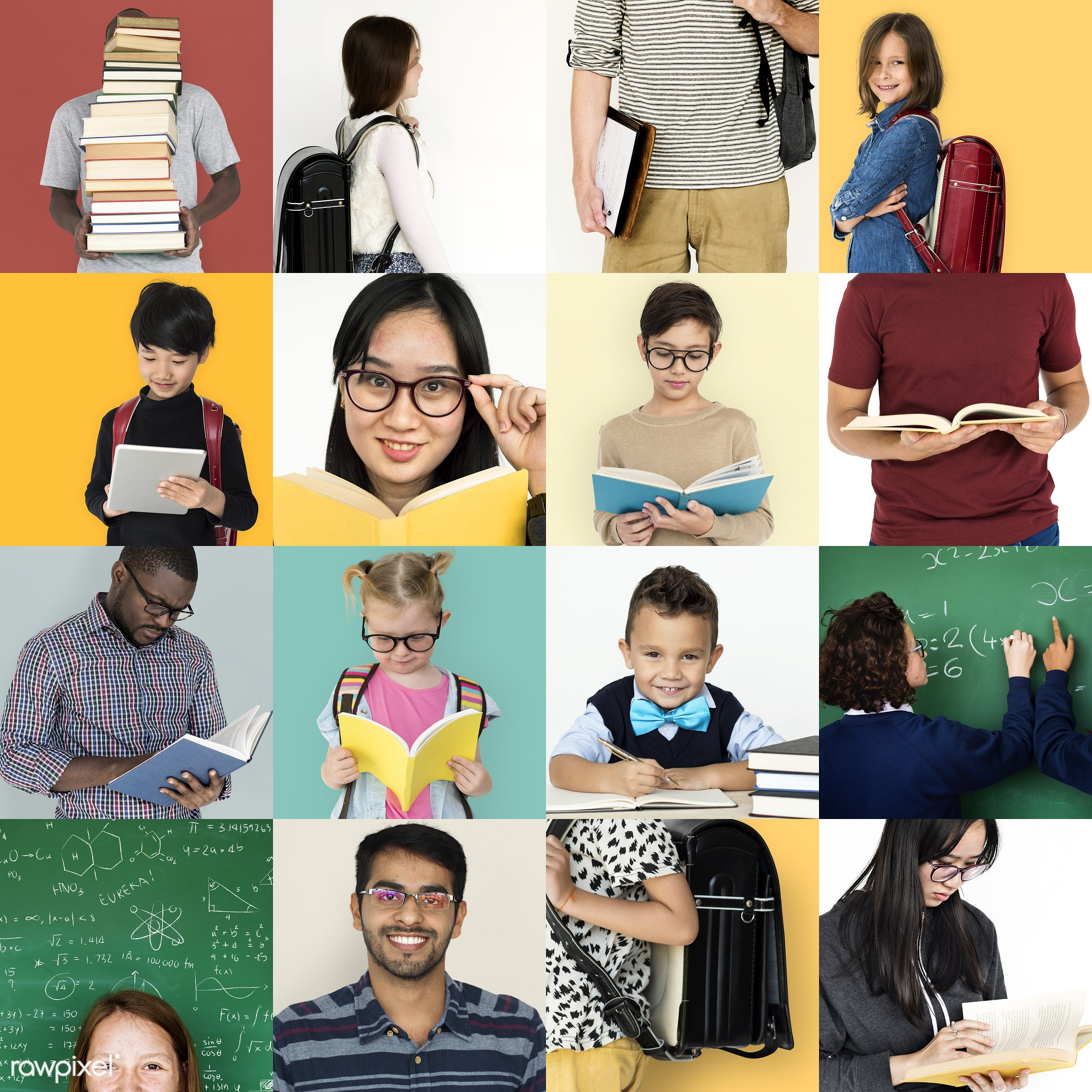 Set of portraits of people with learning concepts - intelligent, skills, studio, person, wisdom, study, people, course,...