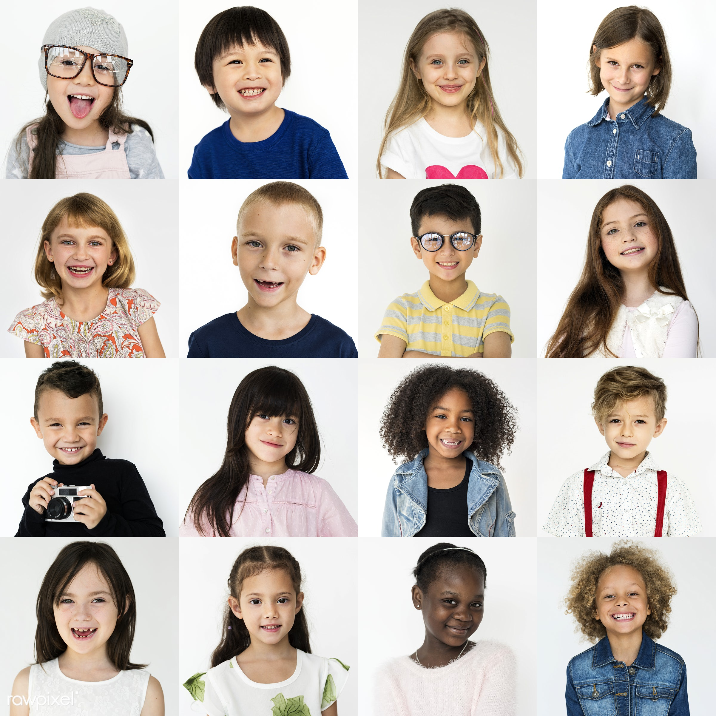 Set of portraits of kids - studio, relax, isolated on white, set, children, schoolboy, collection, optimistic, education,...